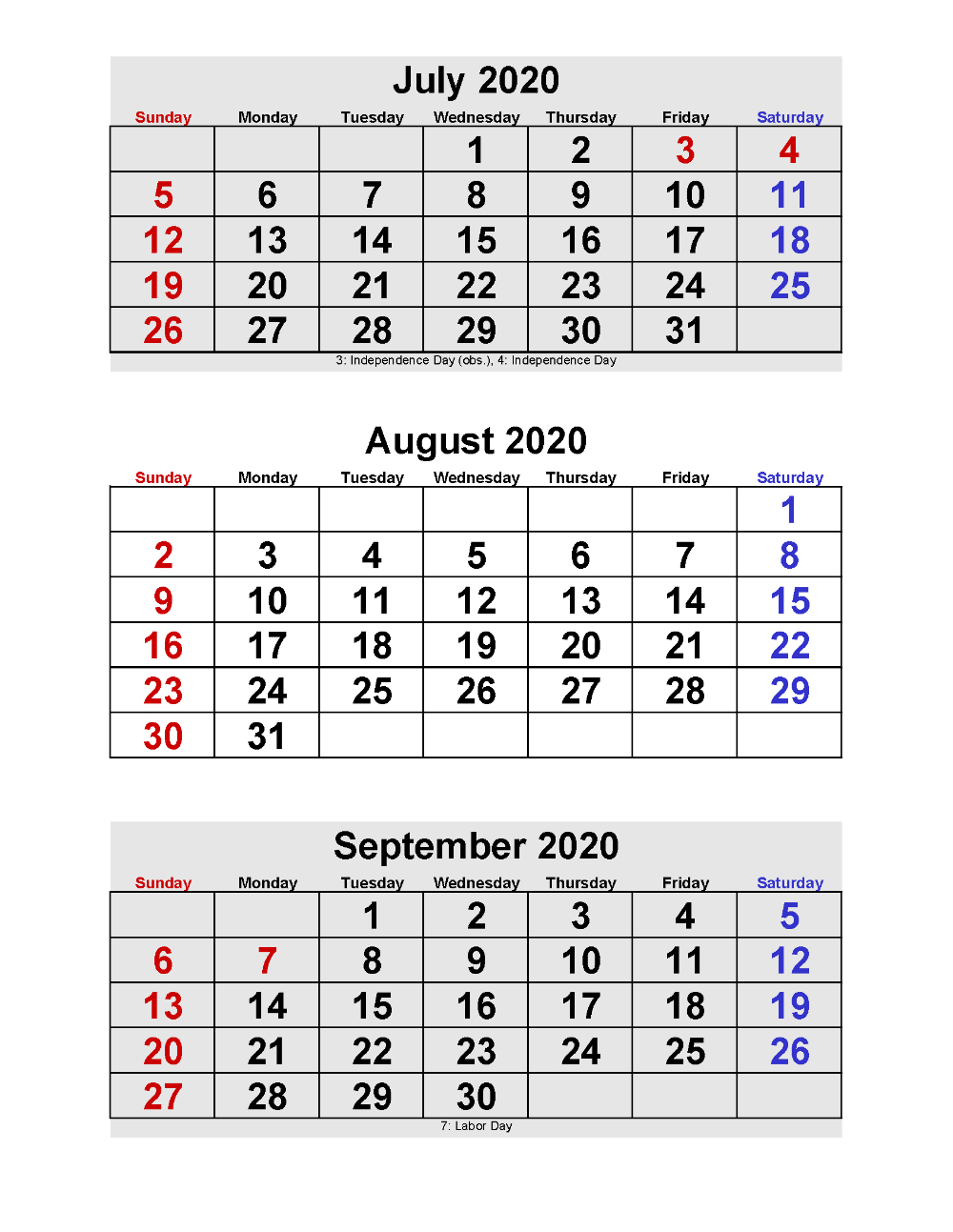July August September 2020 Calendar 3 Months Per Page in Printable Calendar 2020 3 Months Per Page