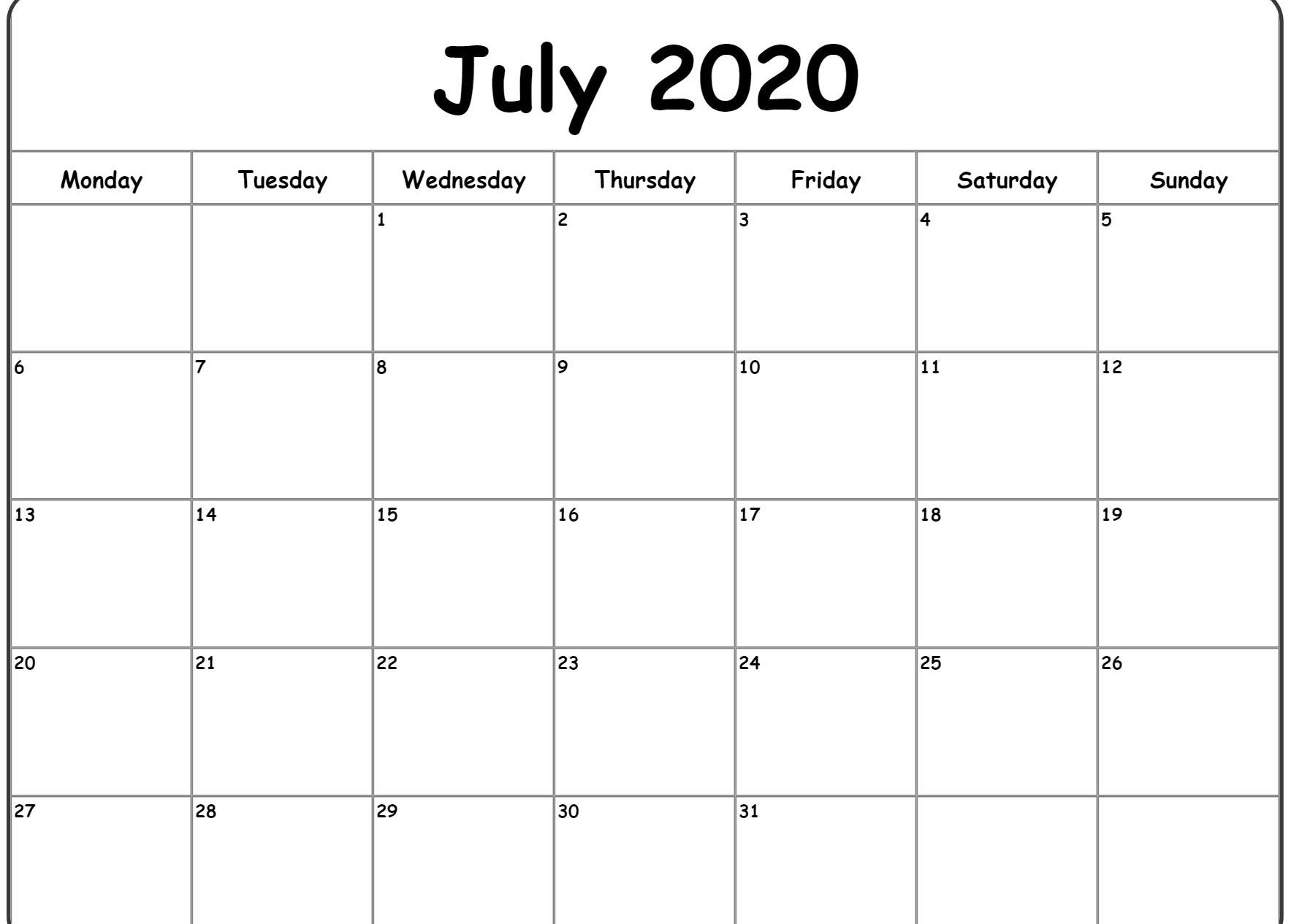 July Calendar 2020 – Printable Template Free Download in Studyblr Calendar 2020