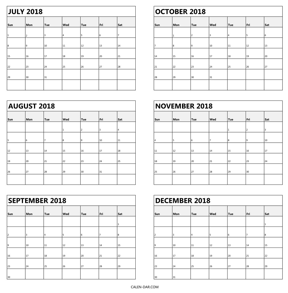 July To December Calendar 2018 | Free Printable 6 Month Template with 6 Month Calendar Template