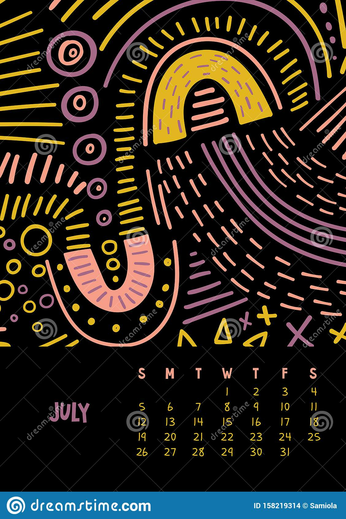 July. Vector Colorful Monthly Calendar For 2020 Year With in July Of 2020