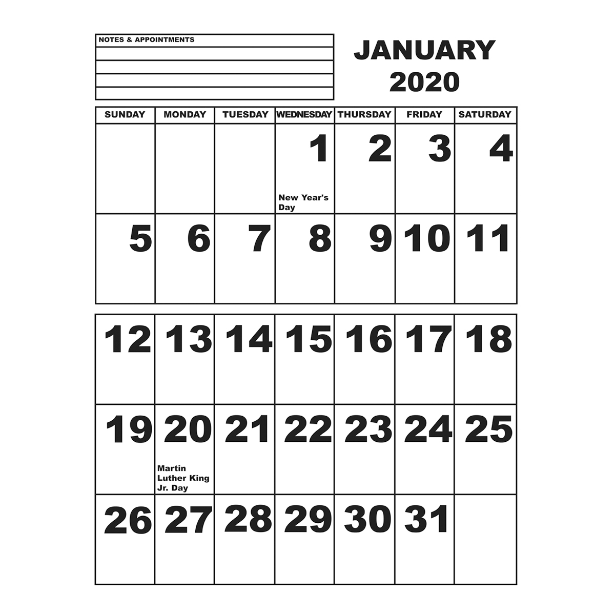 Jumbo Print Calendar  2020 in Free Printable Large Print Calendars For The Visually Impaired
