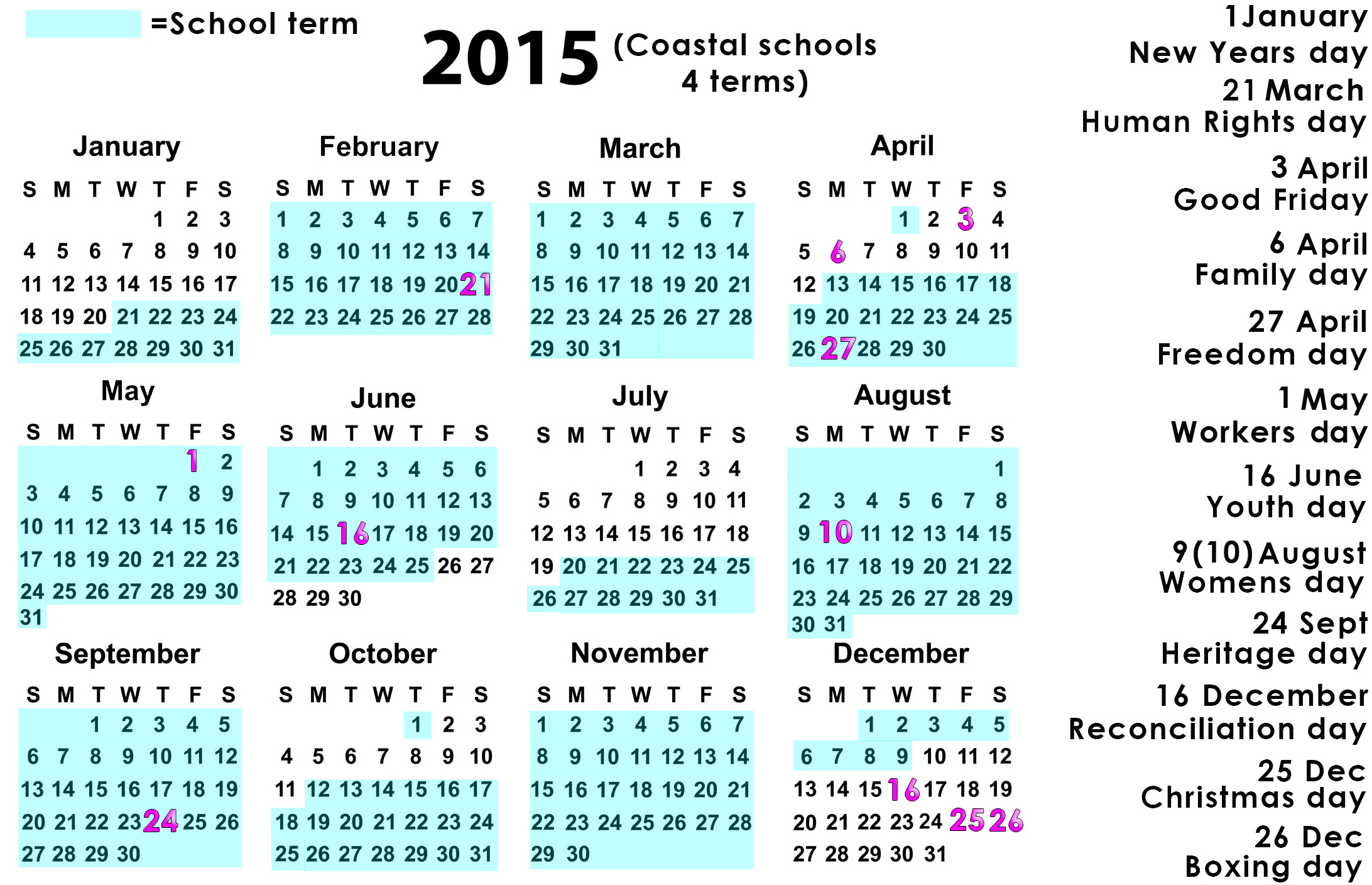 June   2015     Page 4 throughout Eastern Cape School Calendar