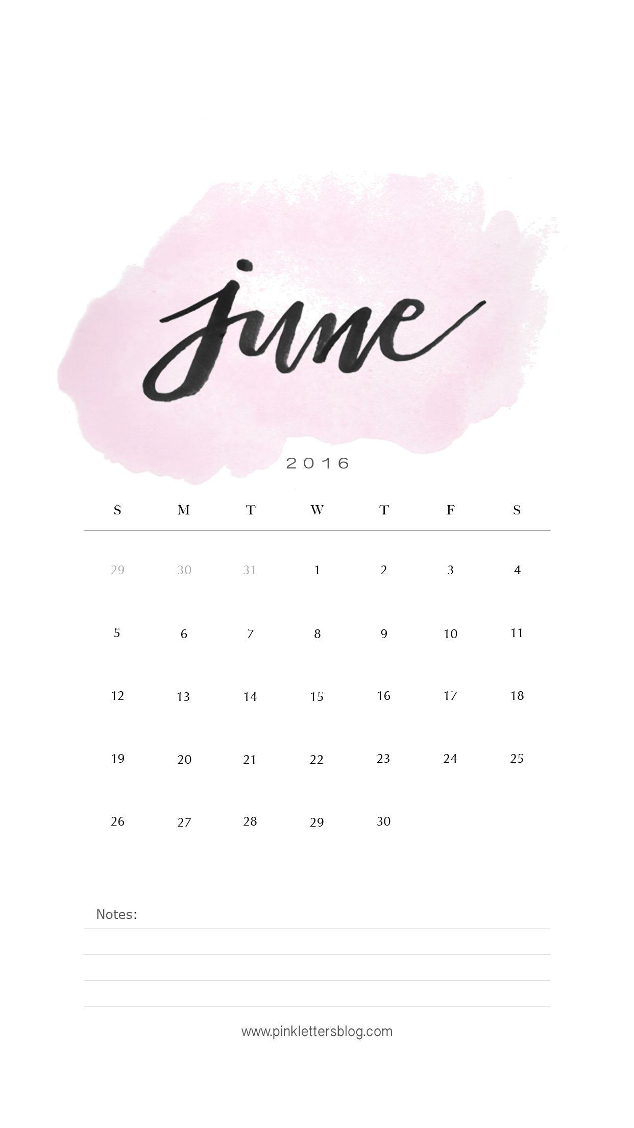 June 2016 Calendar Lockscreen. Iphone Lockscreen. | Calendar intended for Calendar On Lock Screen Iphone