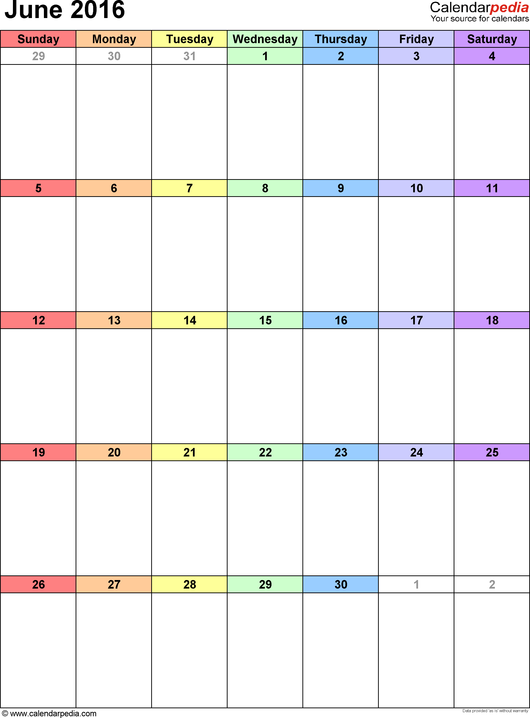 June 2016  Calendar Templates For Word, Excel And Pdf within June 2016 Calendar Printable