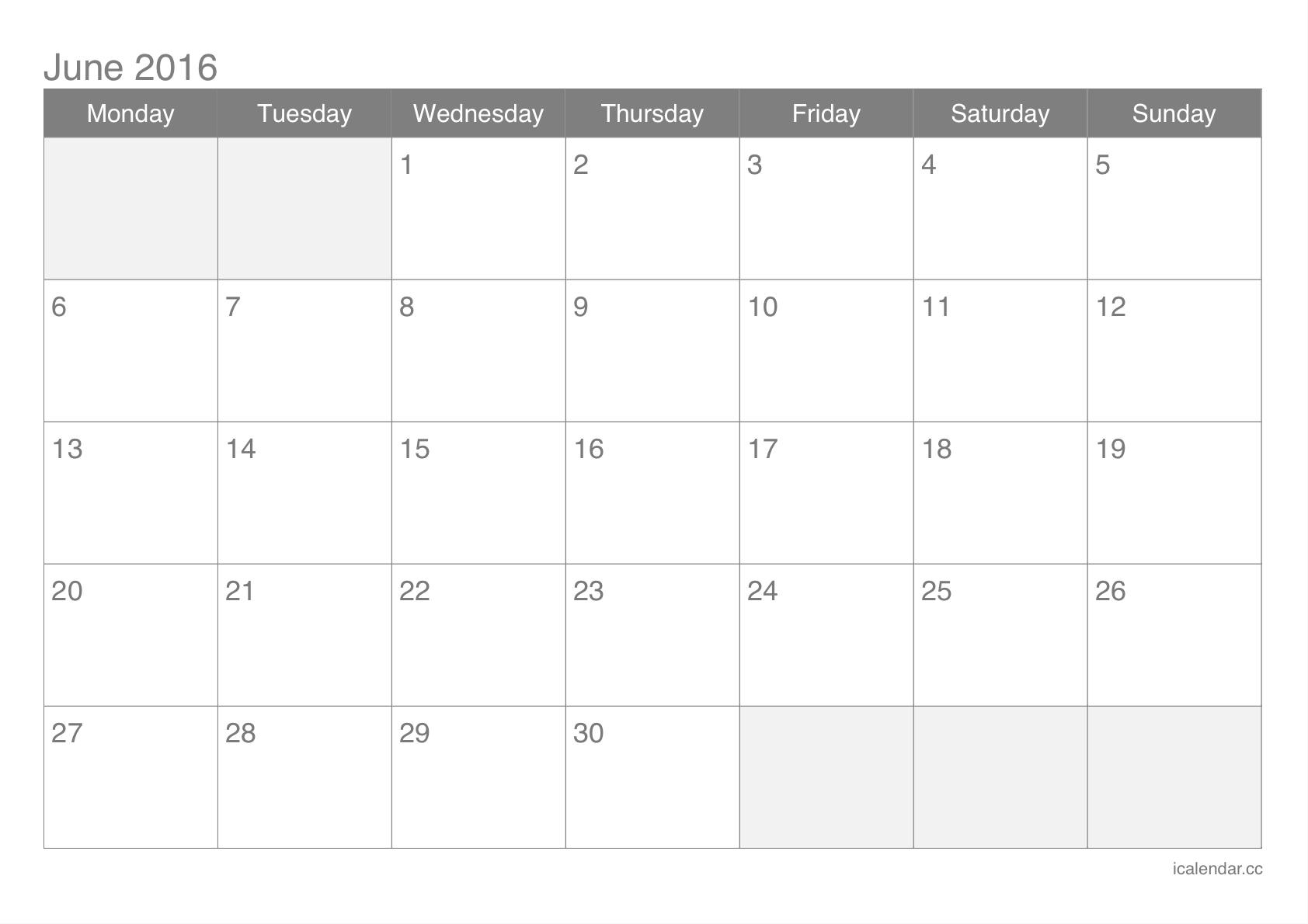 June 2016 Printable Calendar  Icalendars regarding June 2016 Calendar Printable