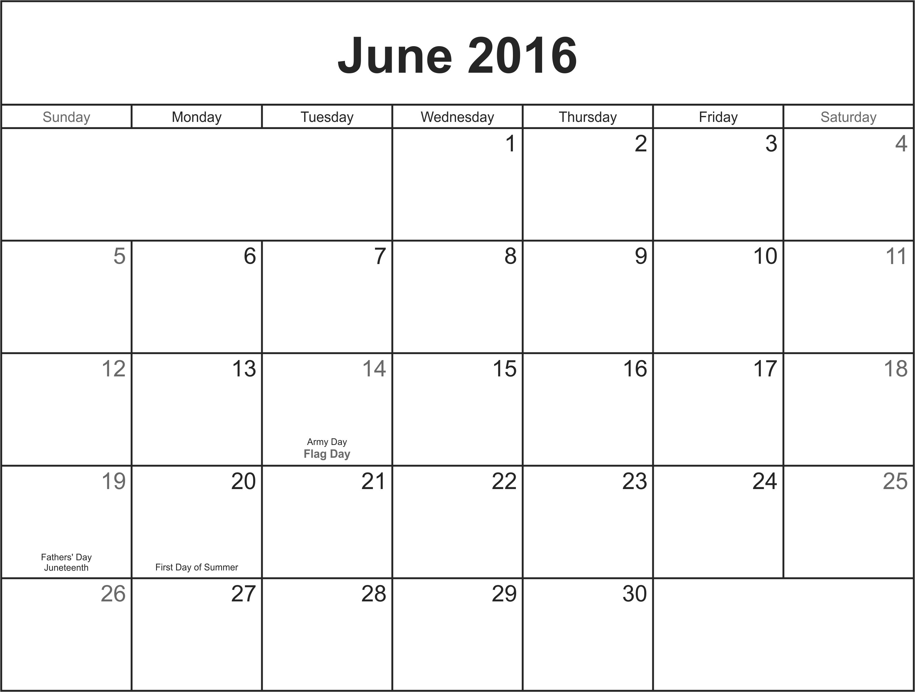 June 2016 Printable Calendar  Printable Blank Calendar with June 2016 Calendar Printable