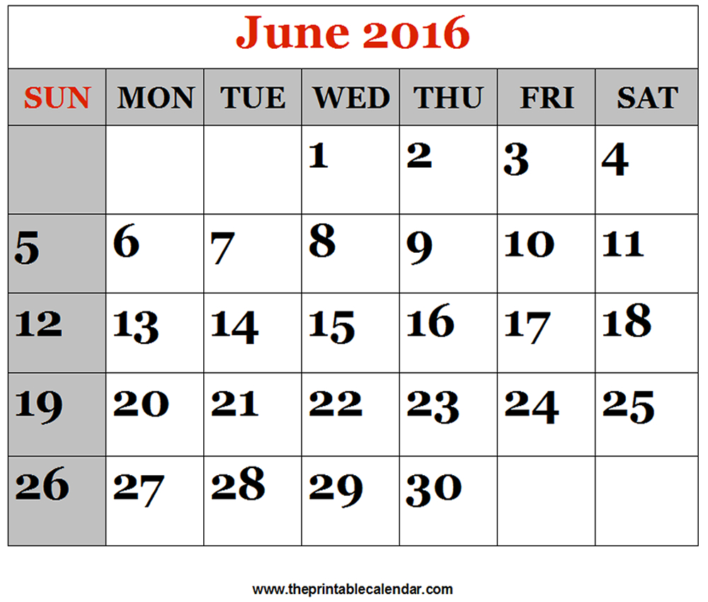 June 2016 Printable Calendars within June 2016 Calendar Printable