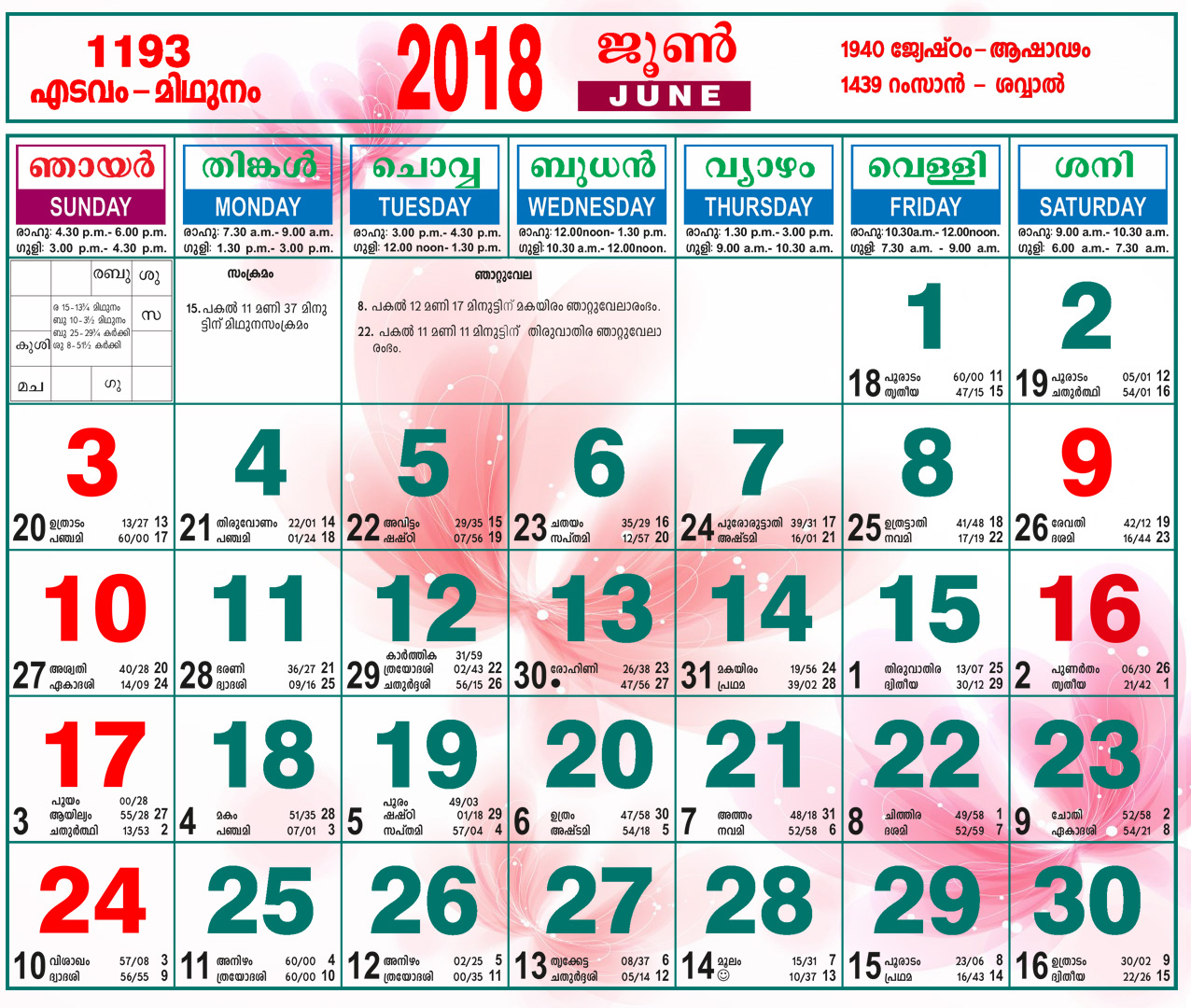 June 2018 Malayalam Calendar with October 2018 Calendar Malayalam