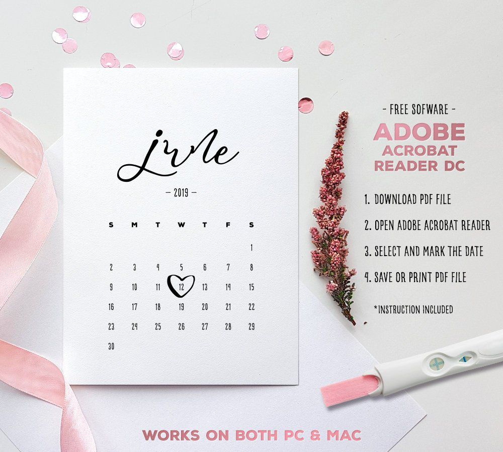 June 2019 Baby Due Date Calendar Template Editable | Etsy inside Free Printable Due Date Calendar