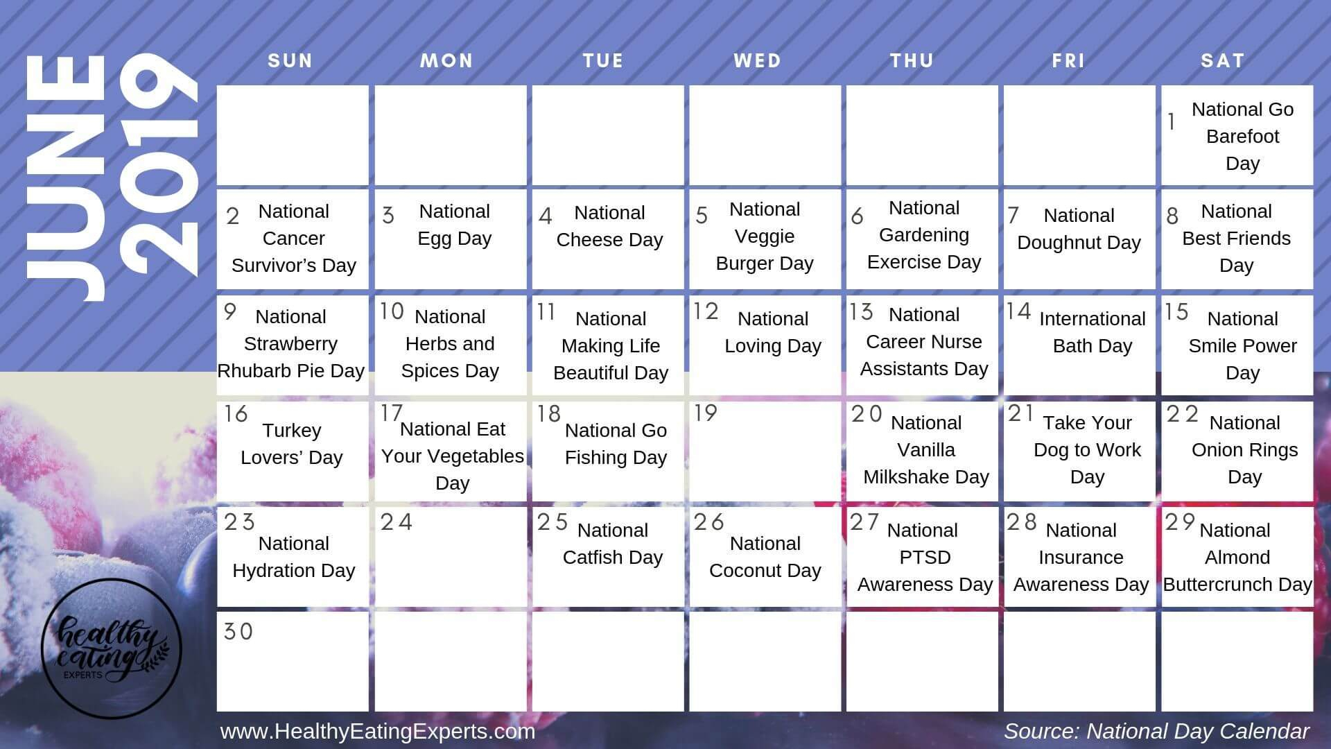 June 2019 Health & Wellness Observations & National Days + with International Days In June