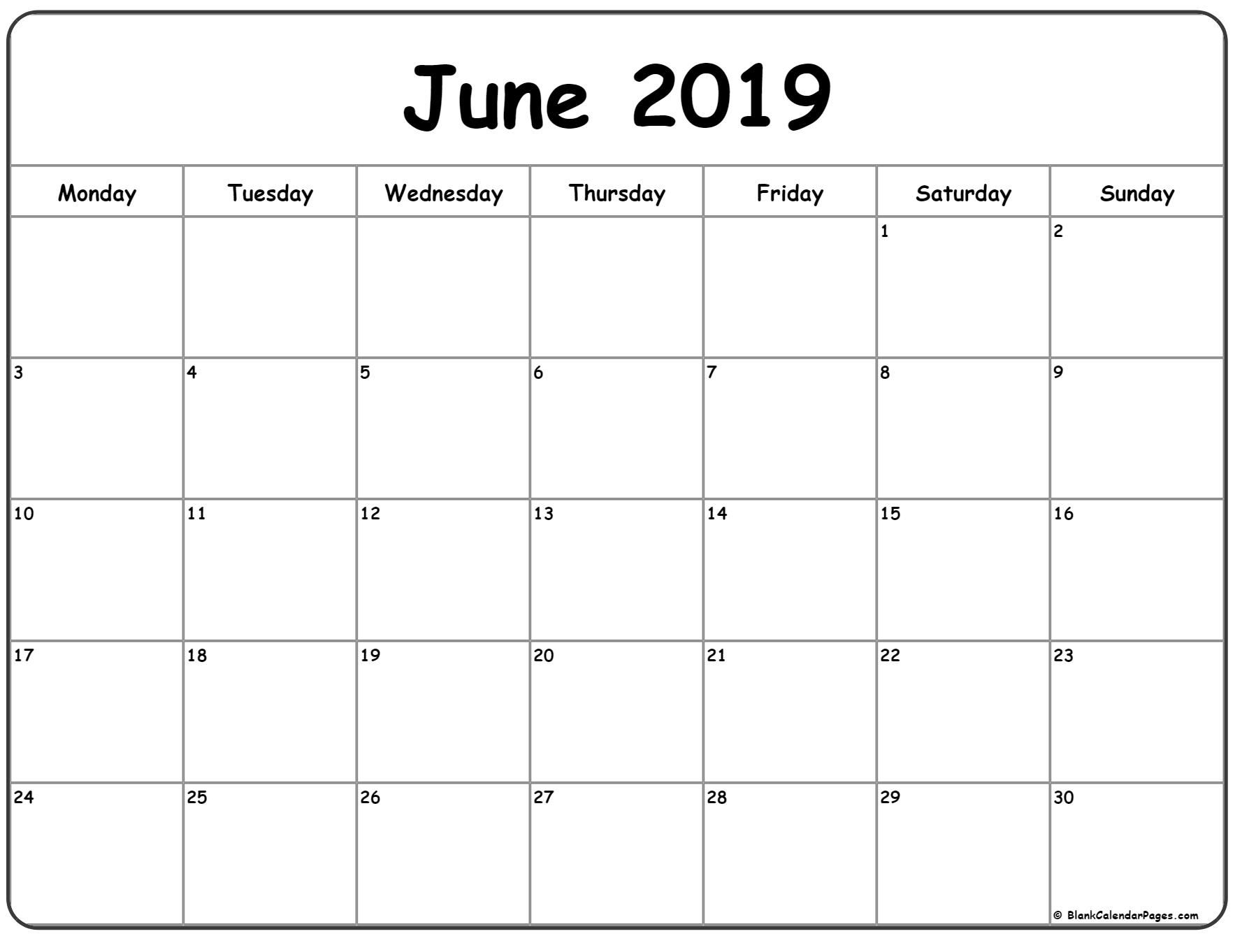 June 2019 Monday Calendar. Monday To Sunday | Printable inside Monday Through Sunday Calendar