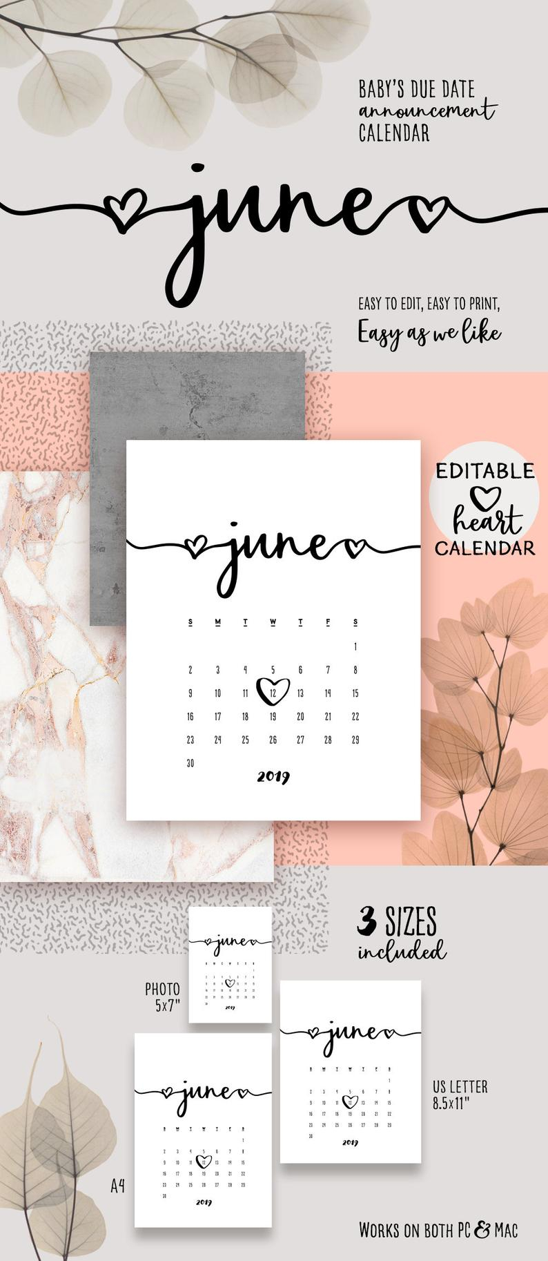 June 2019 Printable Pregnancy Calendar Template Lovely Baby Due Date  Announcement Pregnancy Calendar Pdf Baby Announce Diy Editable Calendar pertaining to Printable Pregnancy Calendar