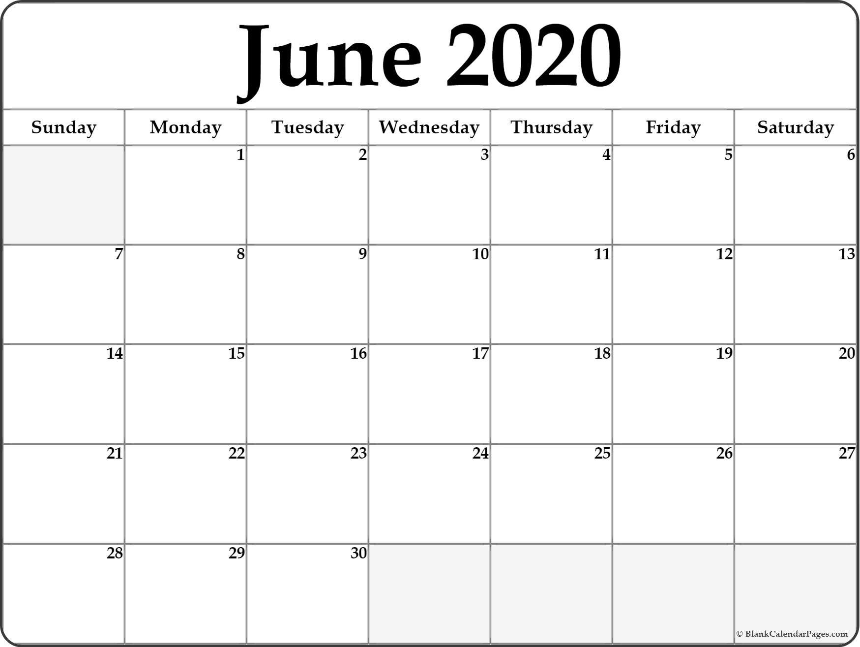 June 2020 Calendar | Free Printable Monthly Calendars intended for Printable Monthly Calendar
