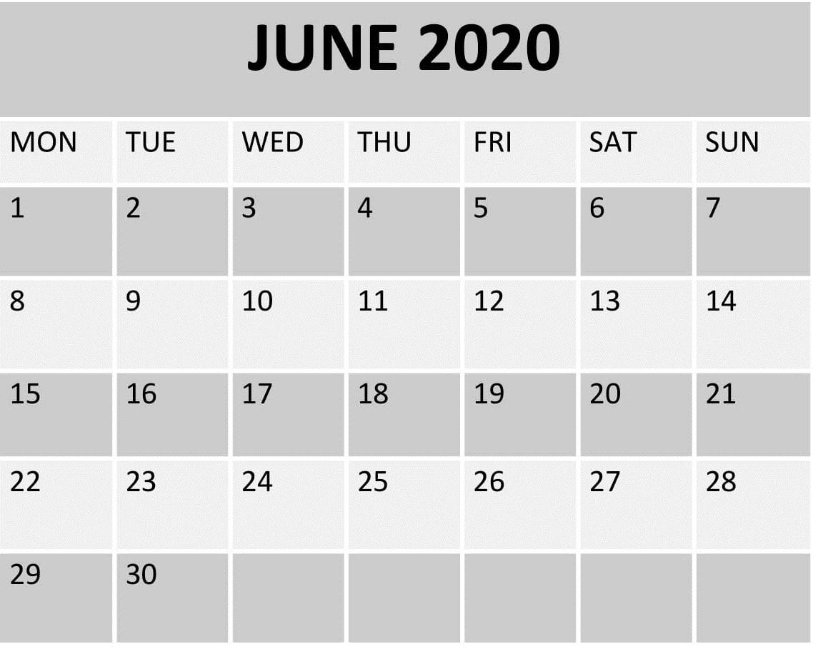June 2020 Calendar Template Printable – Free Latest Calendar throughout Kalendar Kuda July 2020