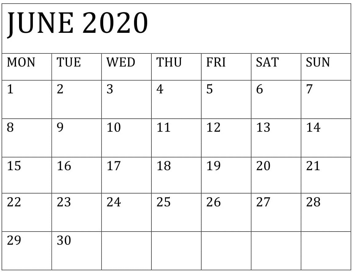 June 2020 Calendar Template Printable – Free Latest Calendar with Kalendar Kuda July 2020