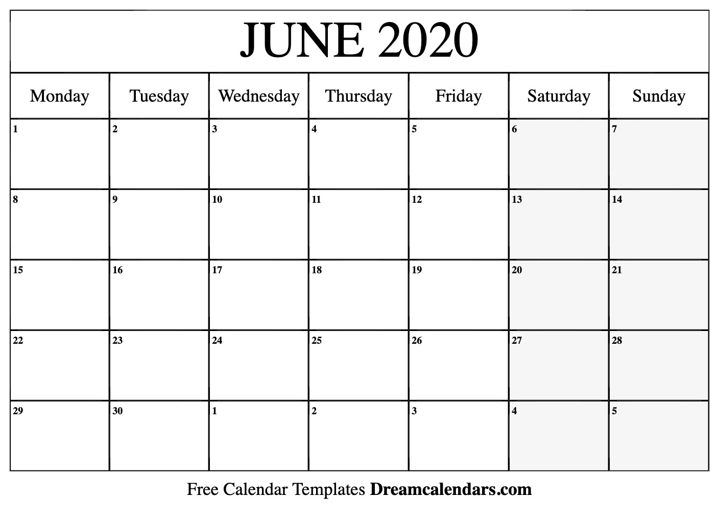 June 2020 Calendar Word  Yatay.horizonconsulting.co for Printable June 2020 Calendar