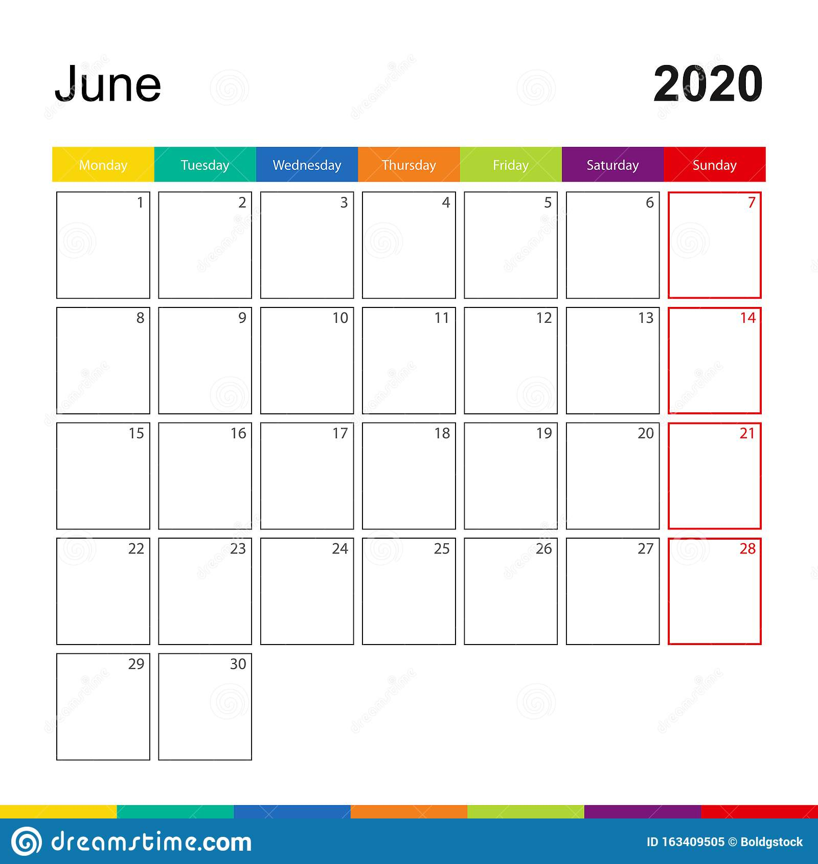 June 2020 Colorful Wall Calendar, Week Starts On Monday regarding Calendar Template Monday Through Friday