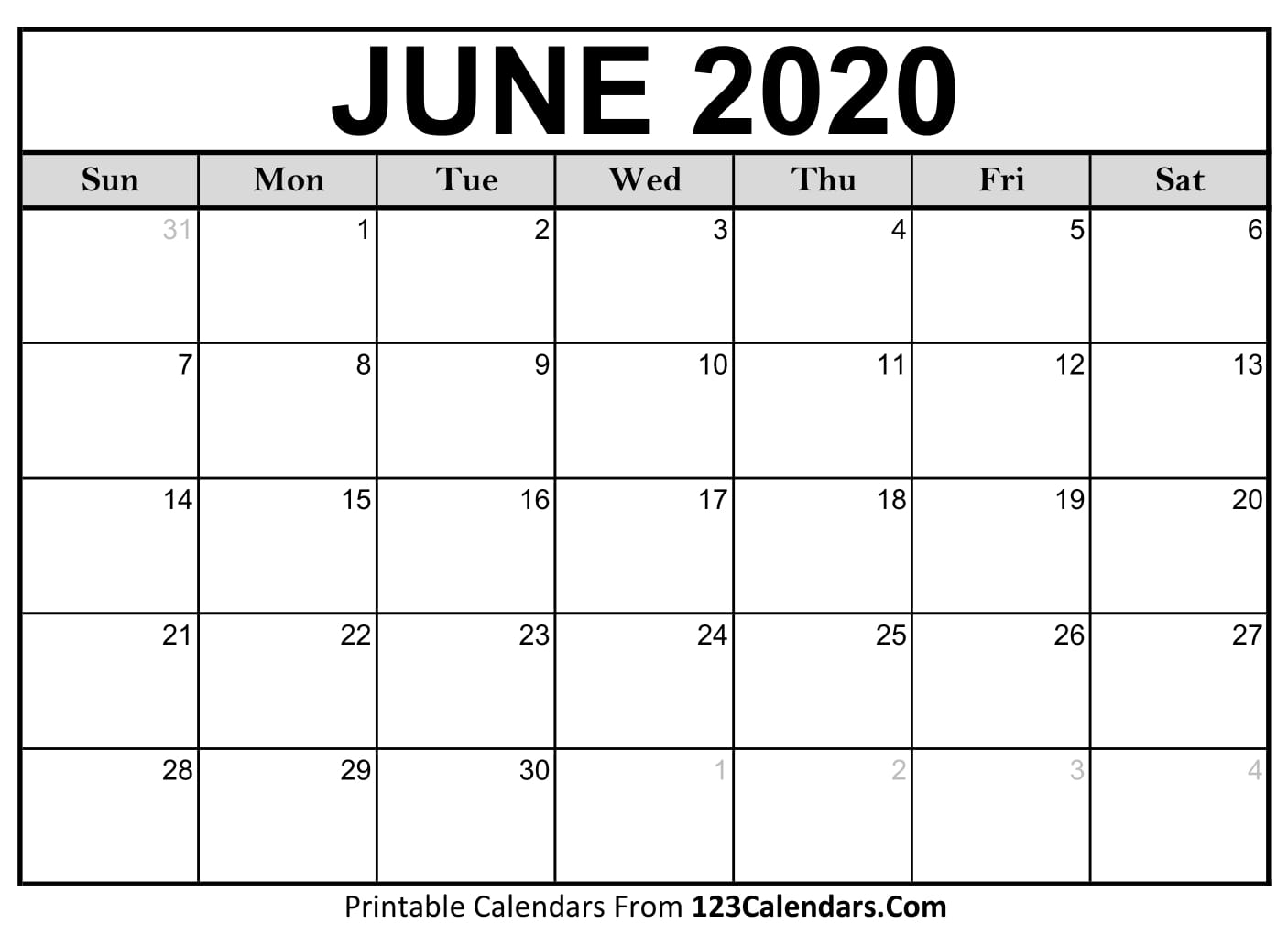 June 2020 Printable Calendar | 123Calendars regarding Printable June 2020 Calendar