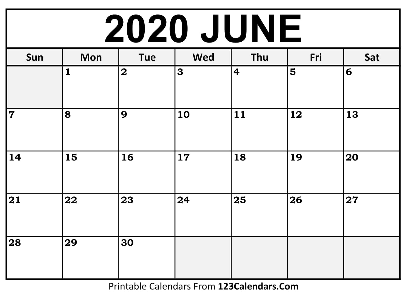 June 2020 Printable Calendar | 123Calendars throughout 123 Calendar January 2020