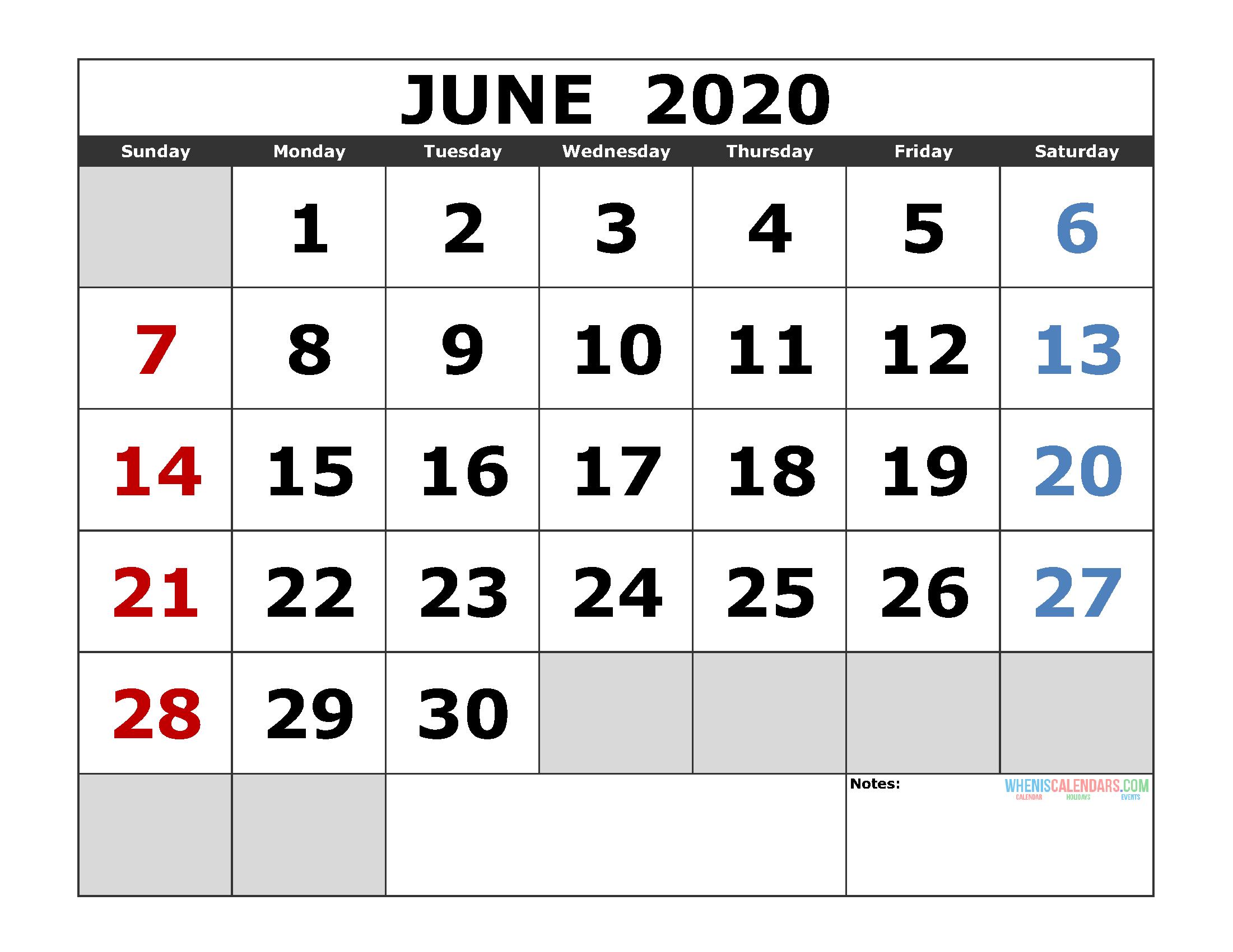 June 2020 Printable Calendar Template Excel, Pdf, Image [Us intended for 3 Month Calendar 2020 Excel