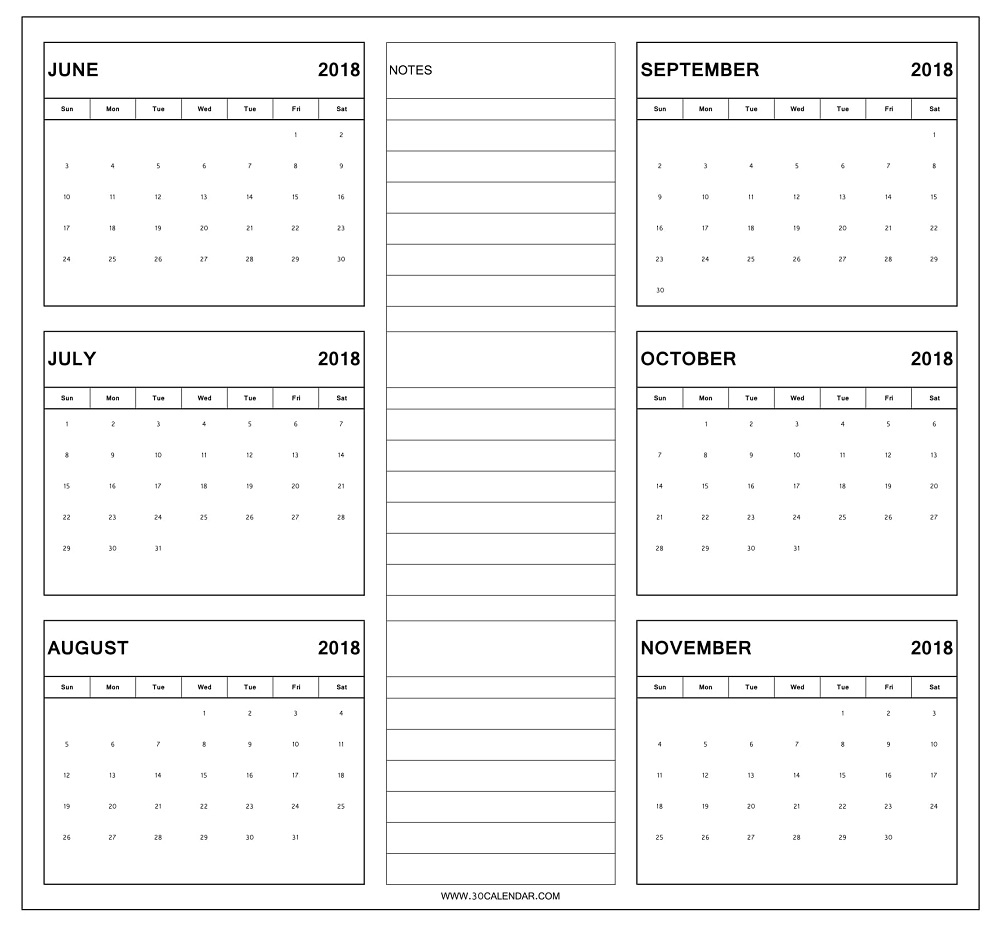 June To November 2018 Calendar Printable | 6 Month Calendar 2018 throughout Blank 6 Month Calendar