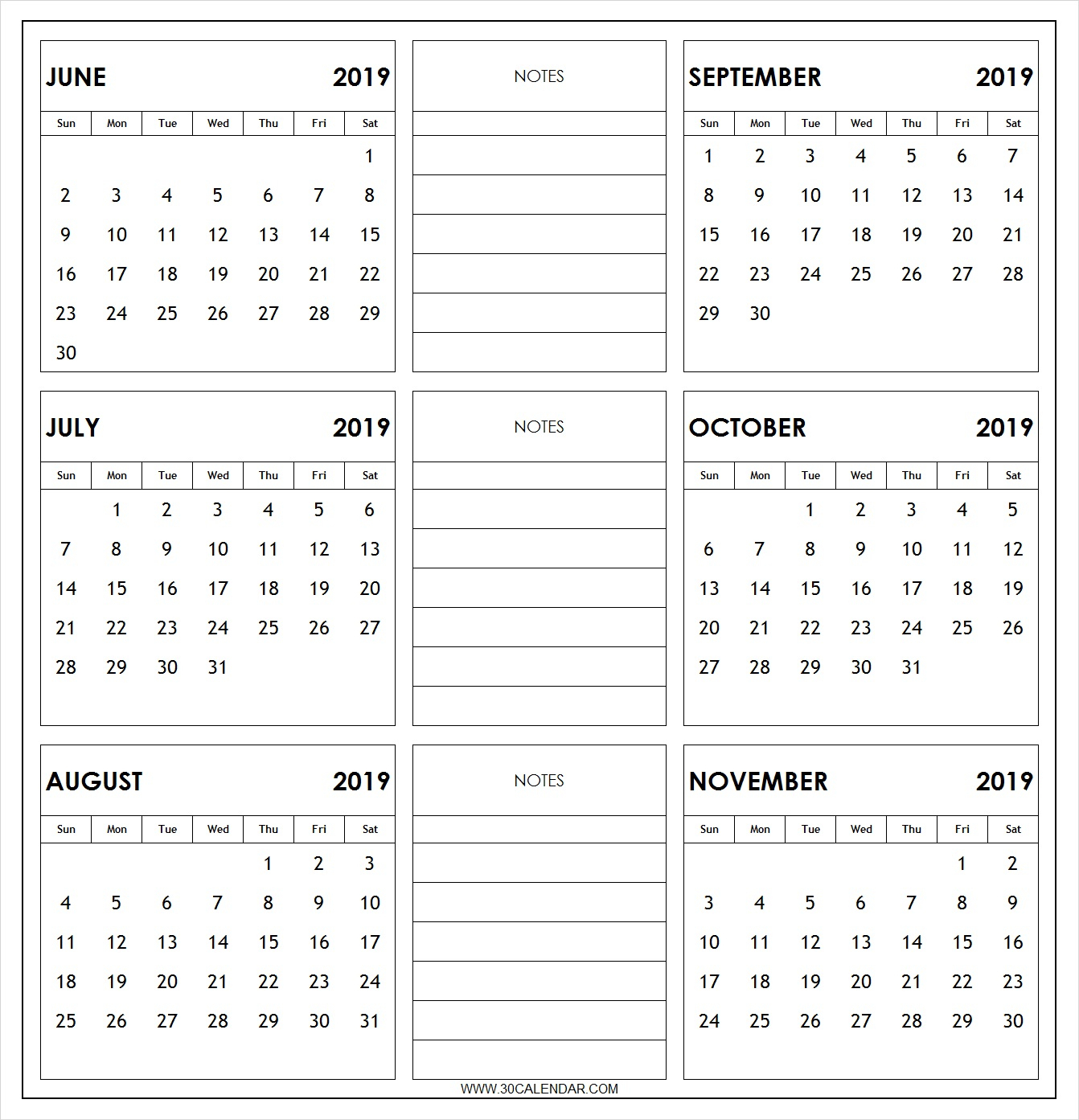 June To November 2019 Calendar Printable | 6 Month 2019 Calendar throughout Blank 6 Month Calendar
