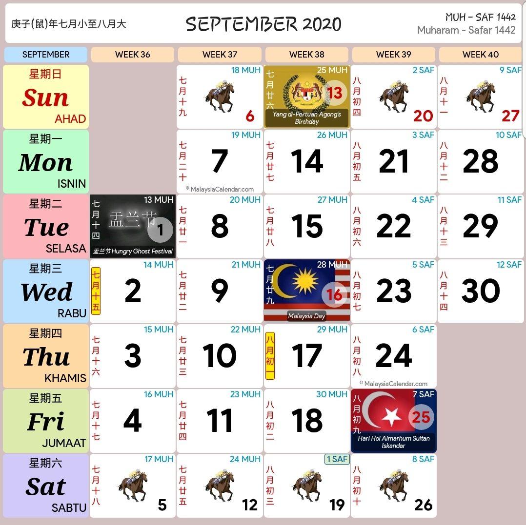 Kalendar 2020 Dan Cuti Sekolah 2020  Rancang Percutian Anda inside Kalendar Kuda September 2020