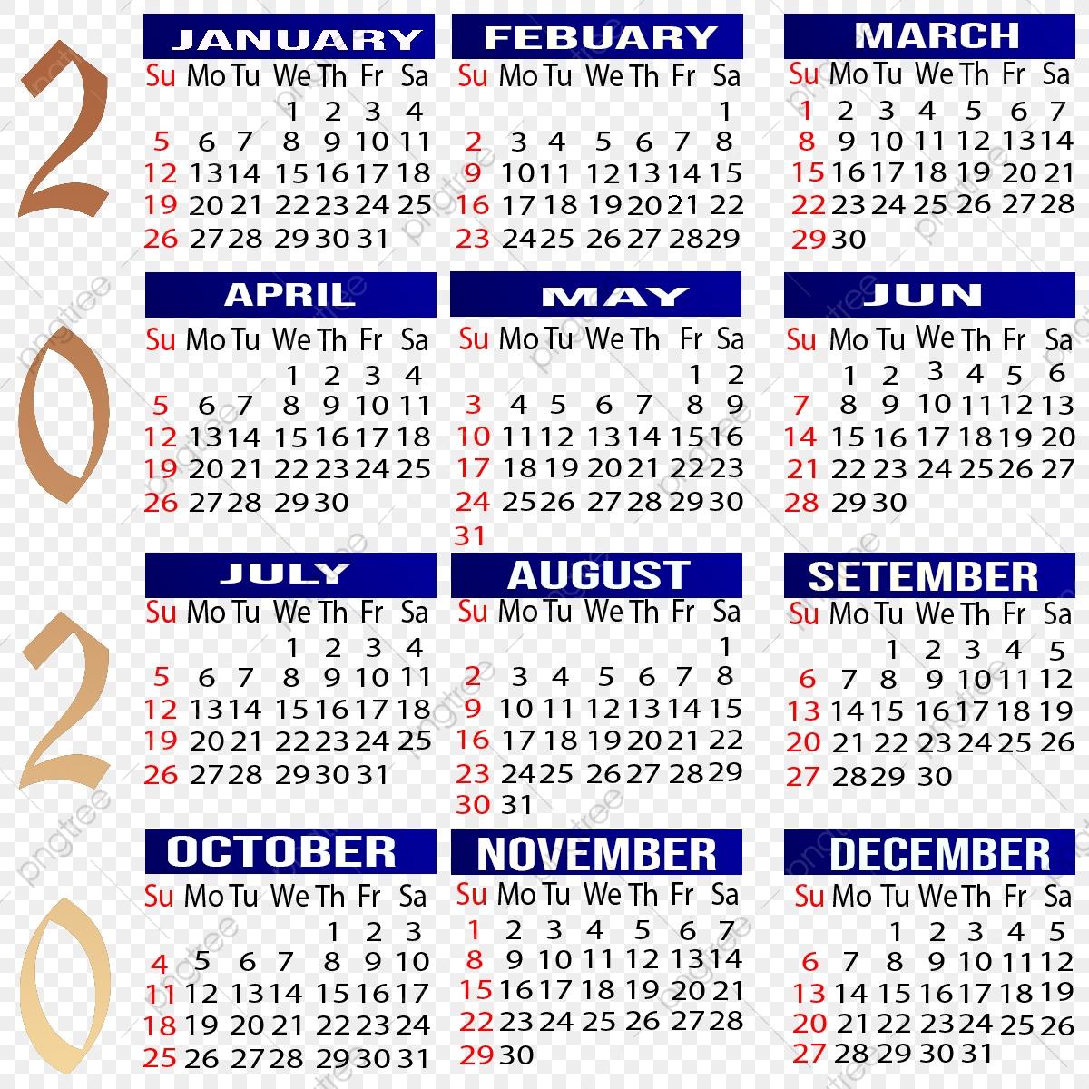 Kalendar 2020, Kalendar, Kalendar, Tahun Fail Png Dan Psd pertaining to Kalendar Kuda Tahun 2020