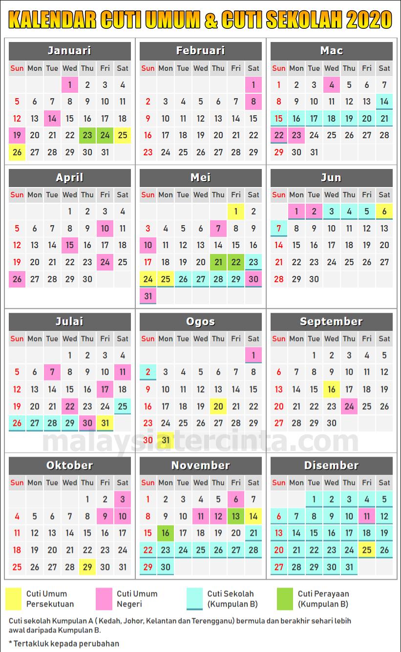 Kalendar Cuti Umum Dan Cuti Sekolah 2020 inside Kalendar Tahun 2020