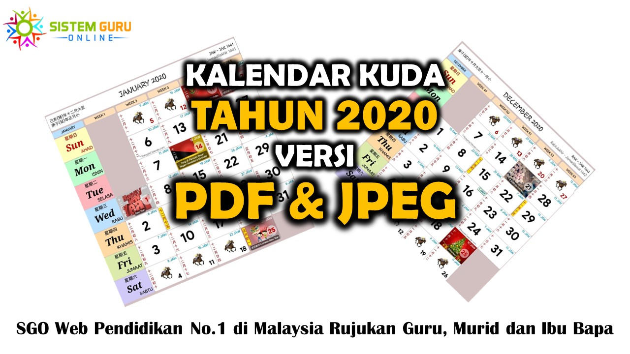Kalendar Kuda Tahun 2020 Versi Pdf Dan Jpeg throughout Calendar Kuda January 2020