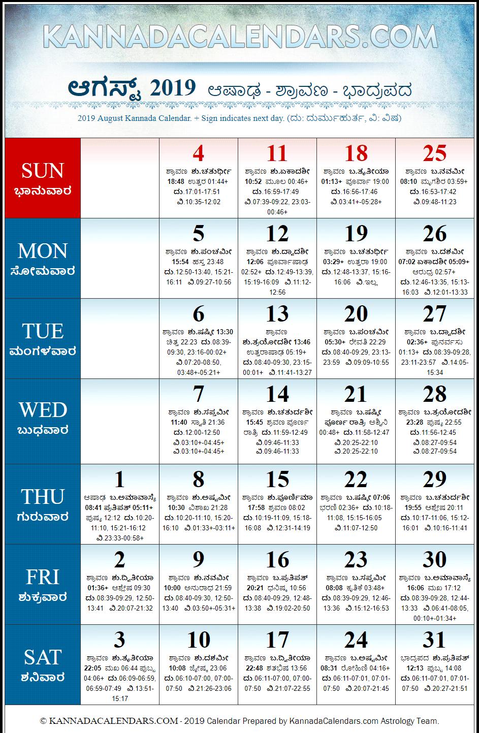 Kannada Calendar 2019 Pdf Free Download pertaining to Kannada Calendar 2020 August