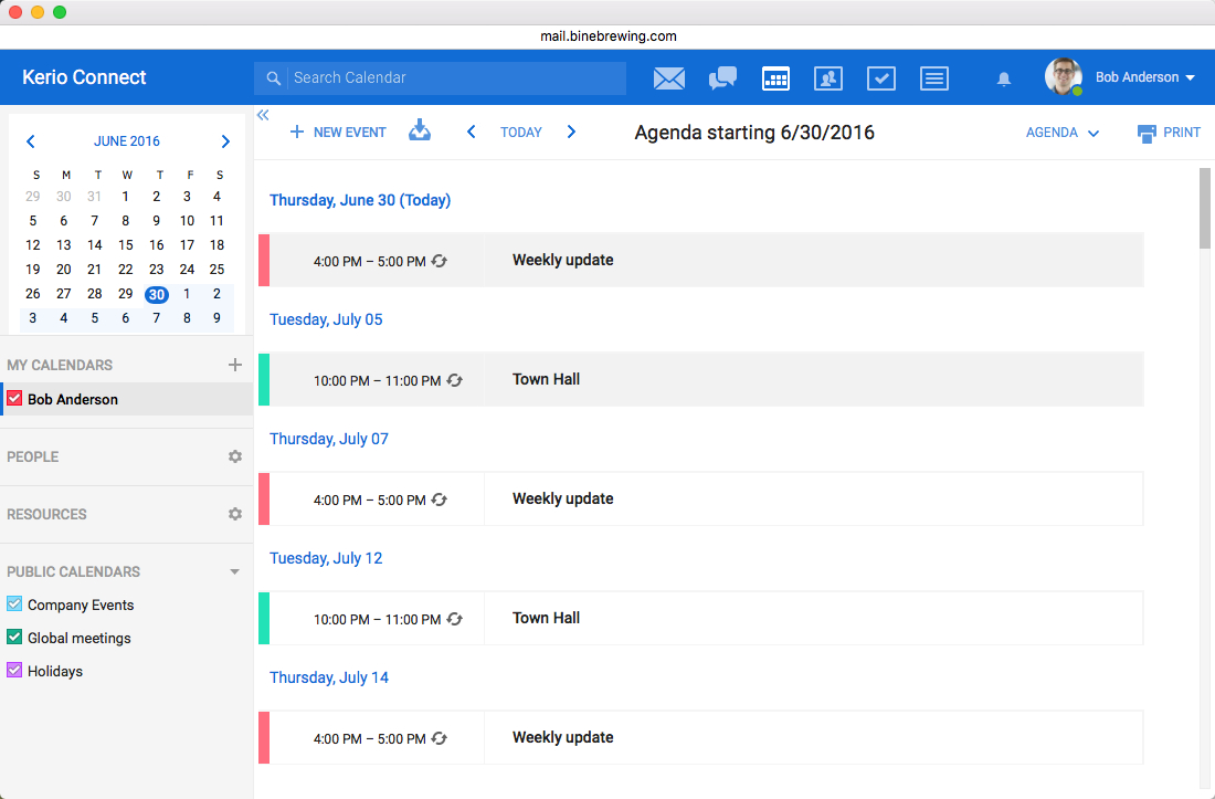 Kerio Connect  Email, Calendars, Contacts And Tasks throughout Kerio Shared Calendar Outlook