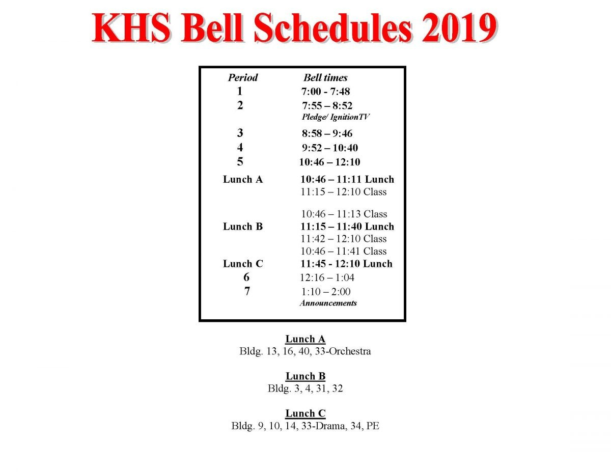 Khs Bell Schedule 2019 Updated 1719 | Kathleen High School intended for Haines City Bell Schedule