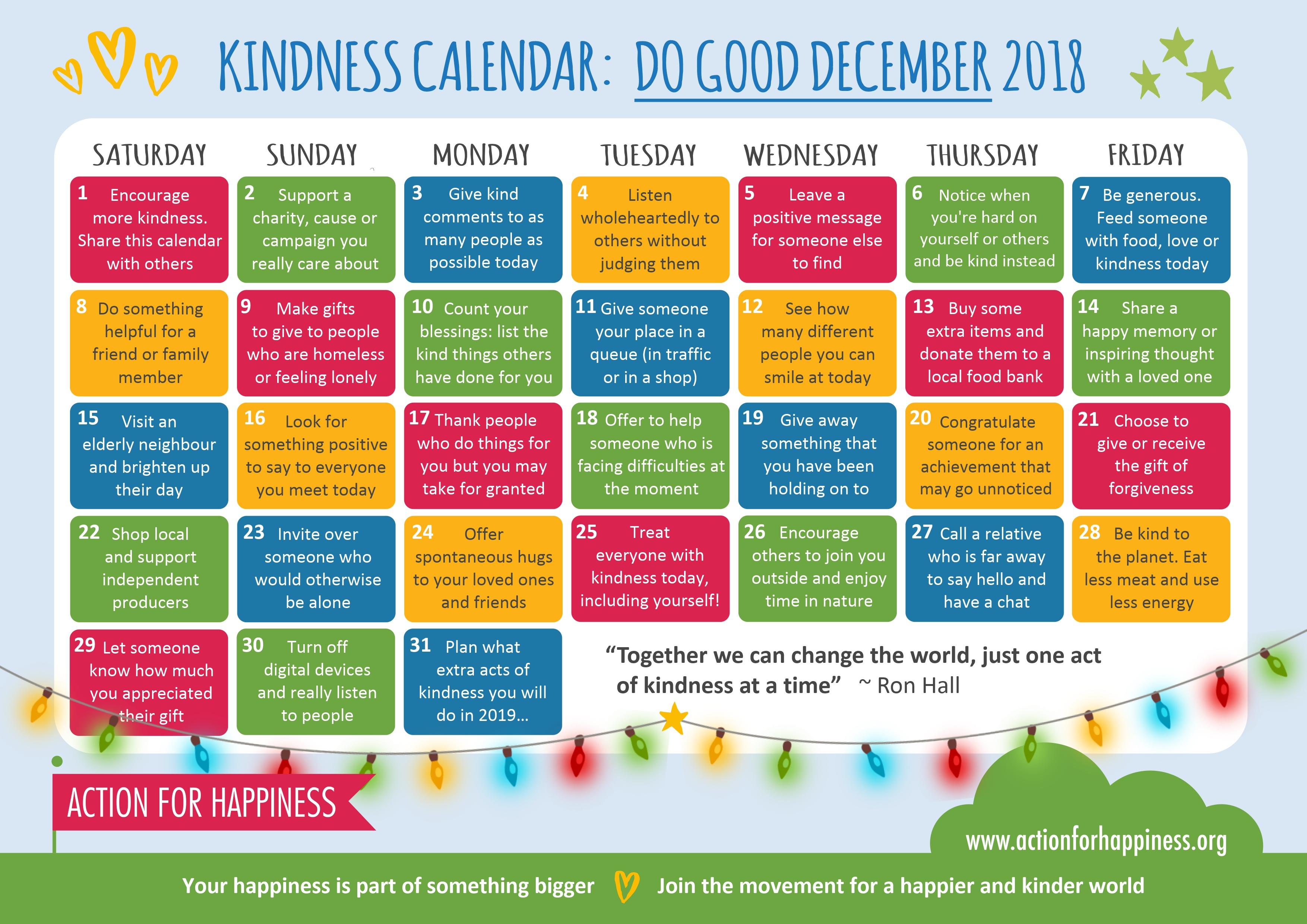 Kindness Calendar – Do Good December, A Blog From Kieran within Kindness Calendar Template