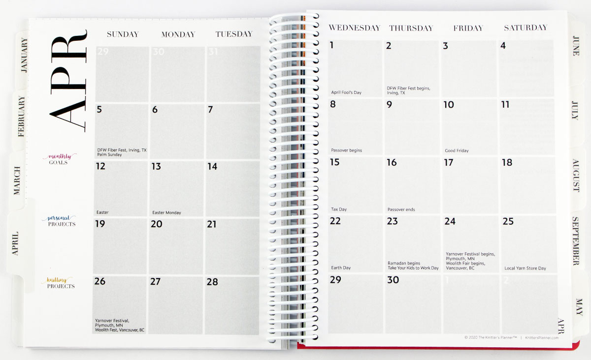 Knitters Planner – Knit More Be Happy inside Monthly Calendar With Time Slots 2020