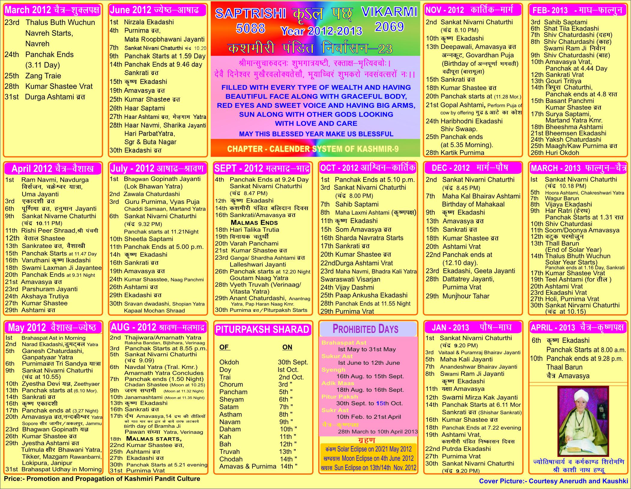 Koshur Update: Navreh 2012 Special regarding 1998 Calendar With Festivals
