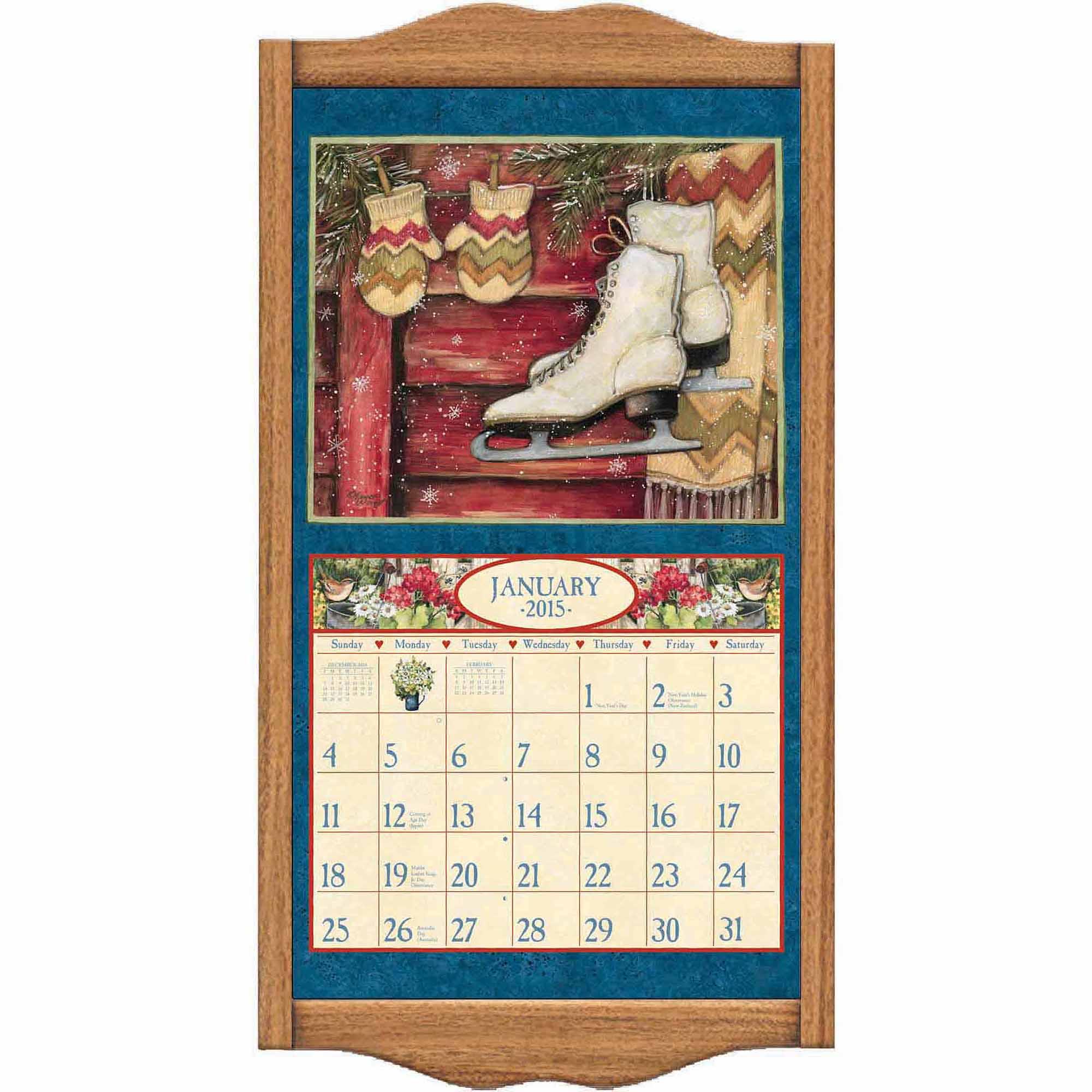 "Lang ""oak"" Calendar Frame  Walmart inside 3 Month Calendar Holder"