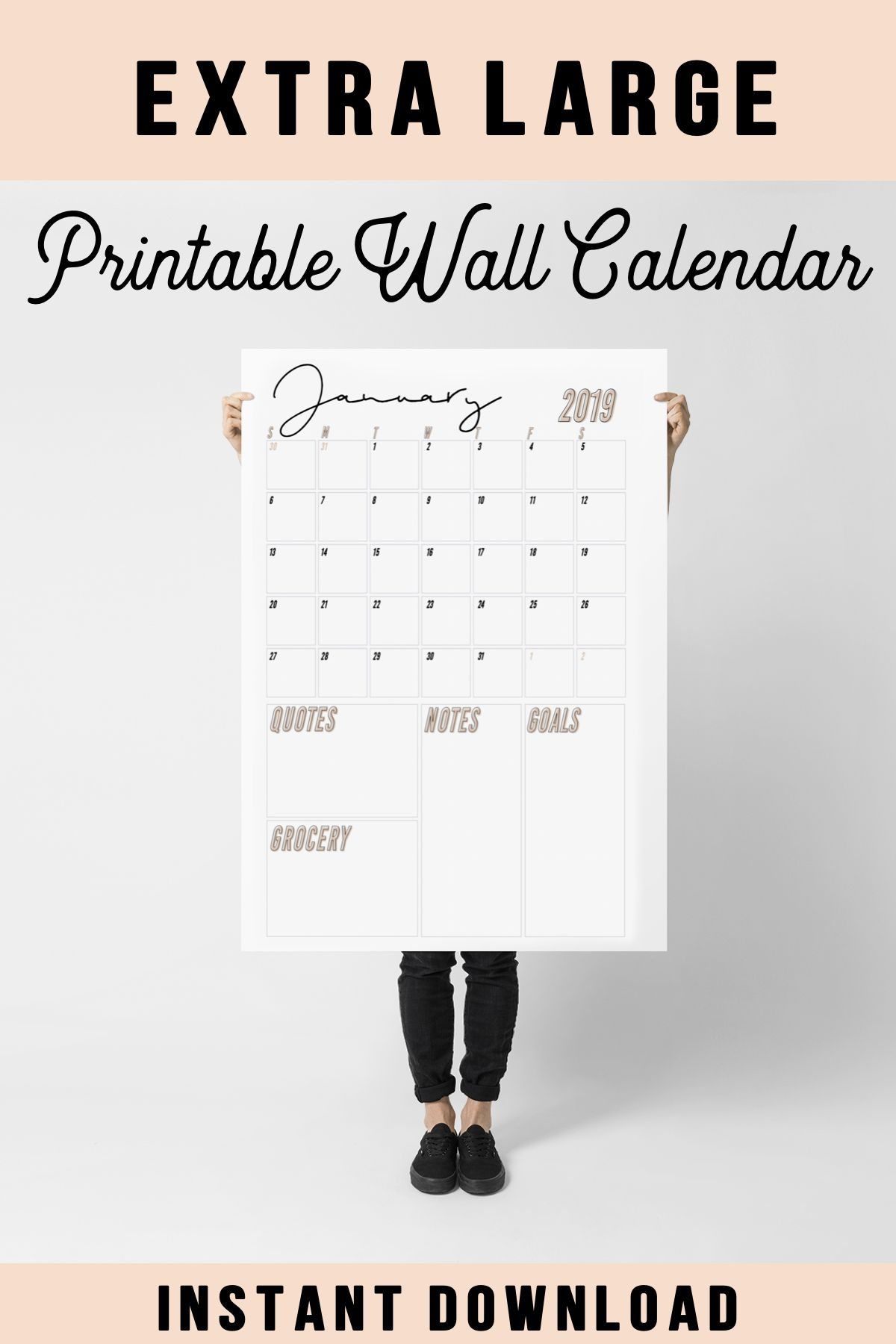 Large Wall Calendar, 2019 Wall Calendar, Monthly Wall for Extra Large Photo Calendar