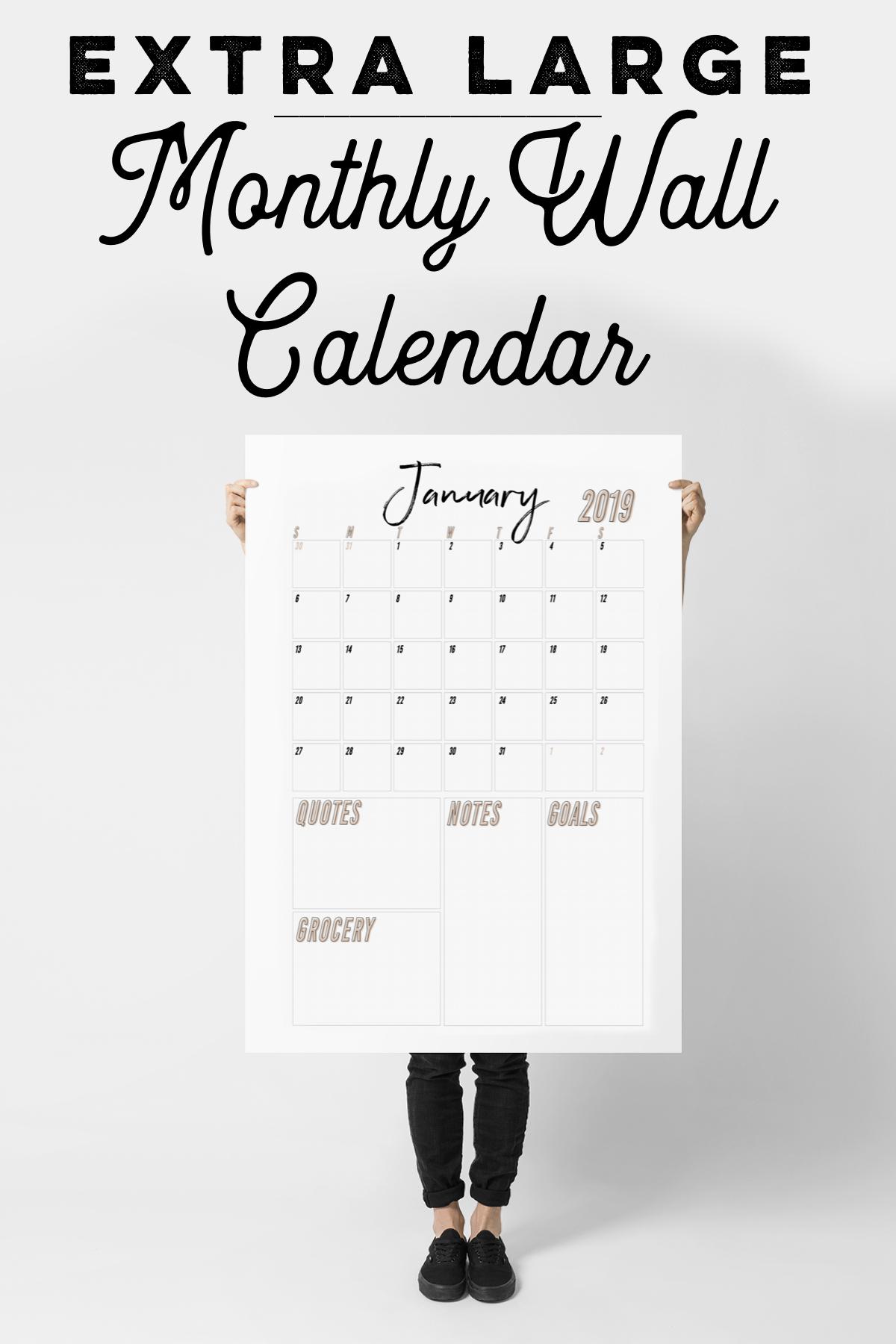 Large Wall Calendar, 2019 Wall Calendar, Wall Calendar within Extra Large Photo Calendar