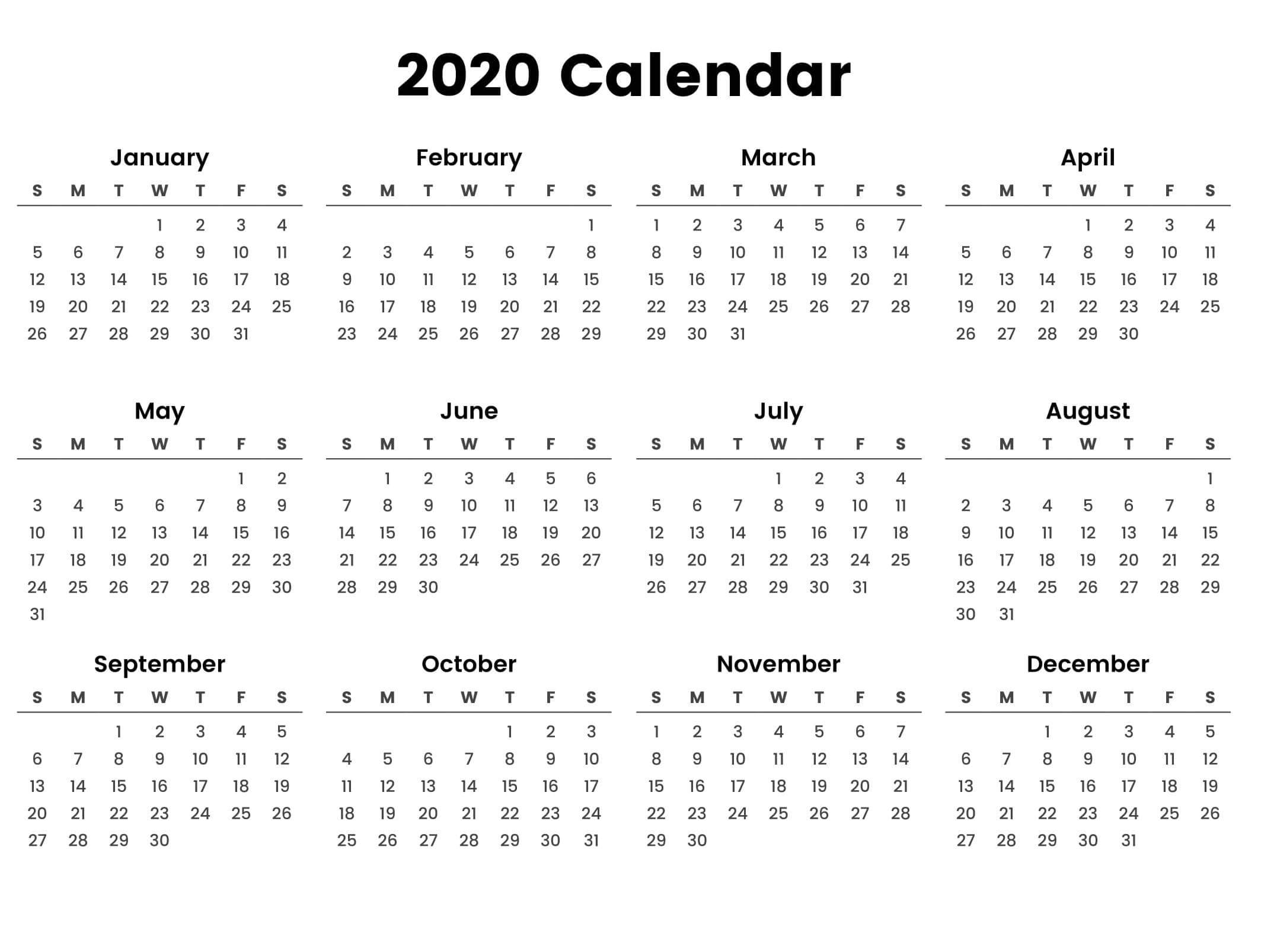 Large Yearly Calendar 2020 With Notes Pdf  Set Your Plan inside 2020 Year At A Glance Printable