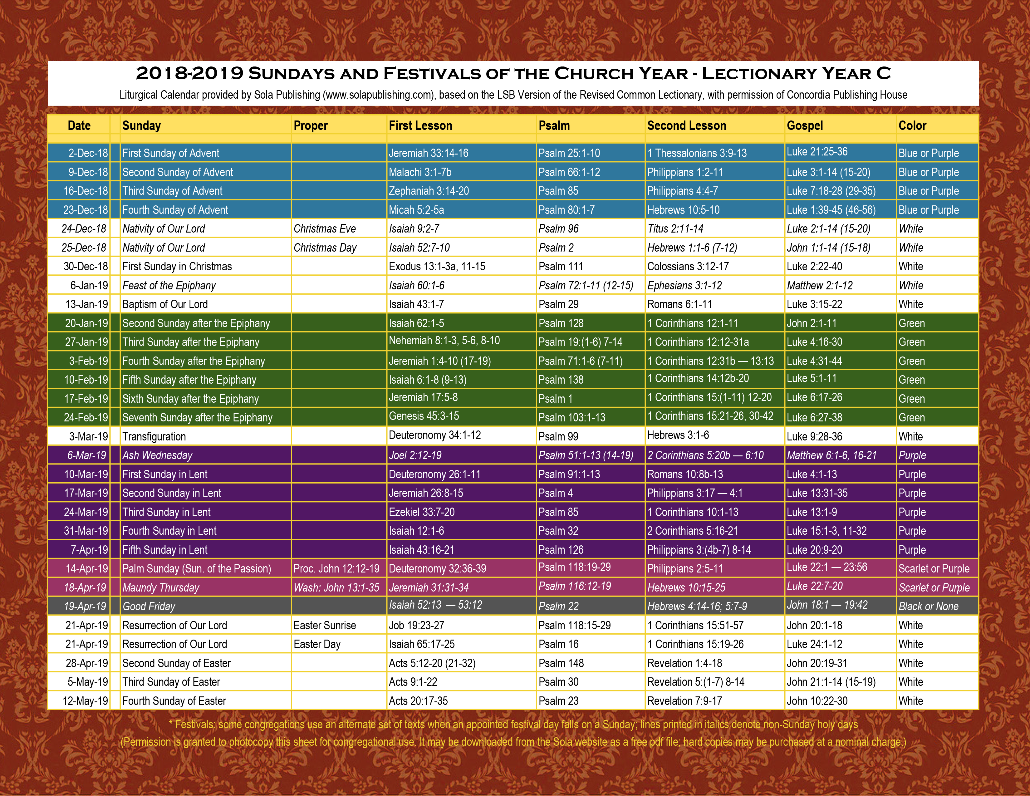 Lectionary  Sola Publishing | Catholic Liturgical Calendar intended for Catholic Liturgy Calendar 2020