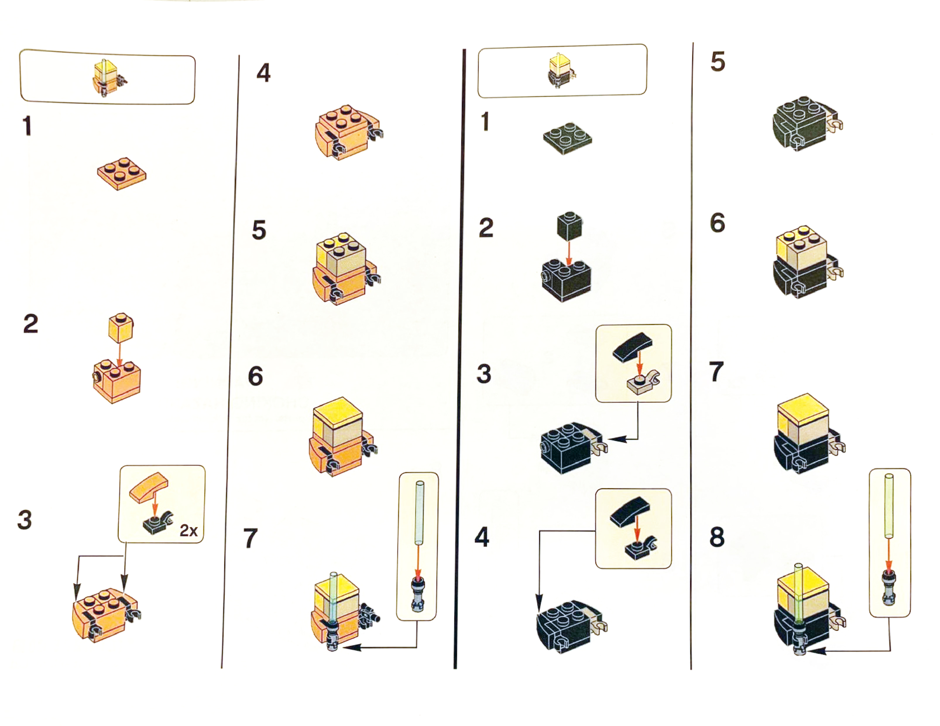 Lego Star Wars Luke Skywalker Timeline Building Instructions in Lego Star Wars Advent Calendar 2011 Instructions