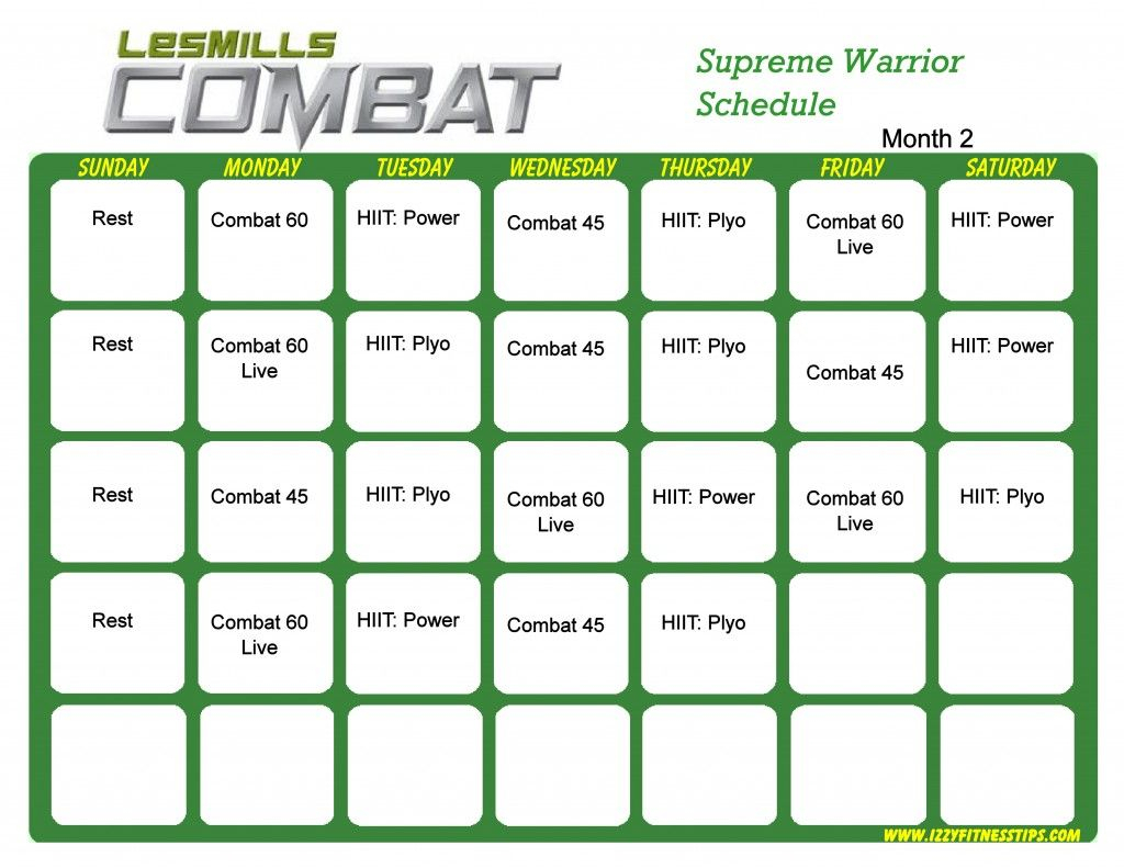Les Mills Combat Supreme Warrior Month 2 | Hip Hop Abs throughout Hip Hop Abs Calendar