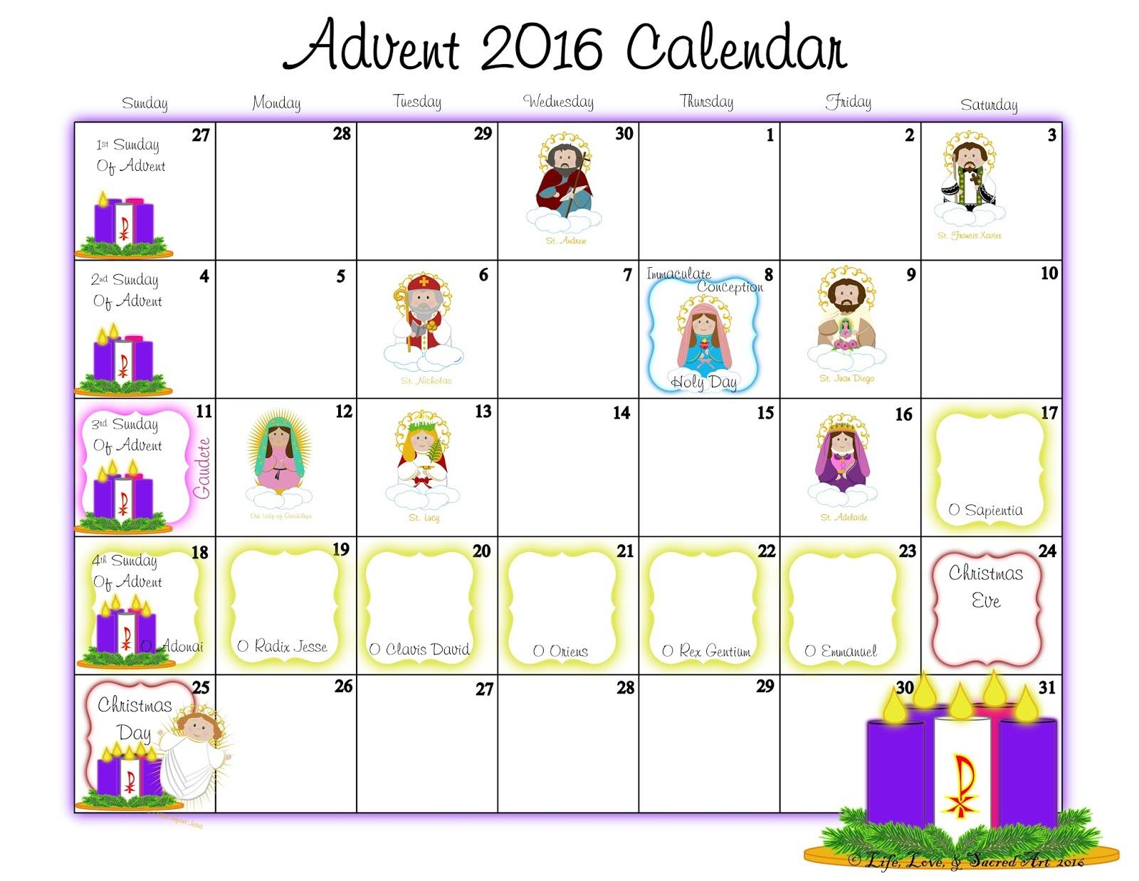 Life, Love, & Sacred Art: November 2016 pertaining to Catholic Advent Calendar Printable
