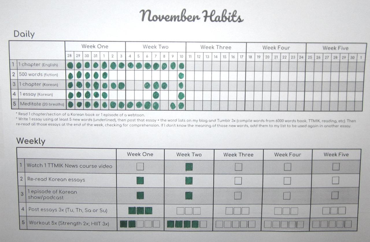 Lin Learns Korean! — Habit Calendar: Weeks 12 intended for Two Weeks Calendar