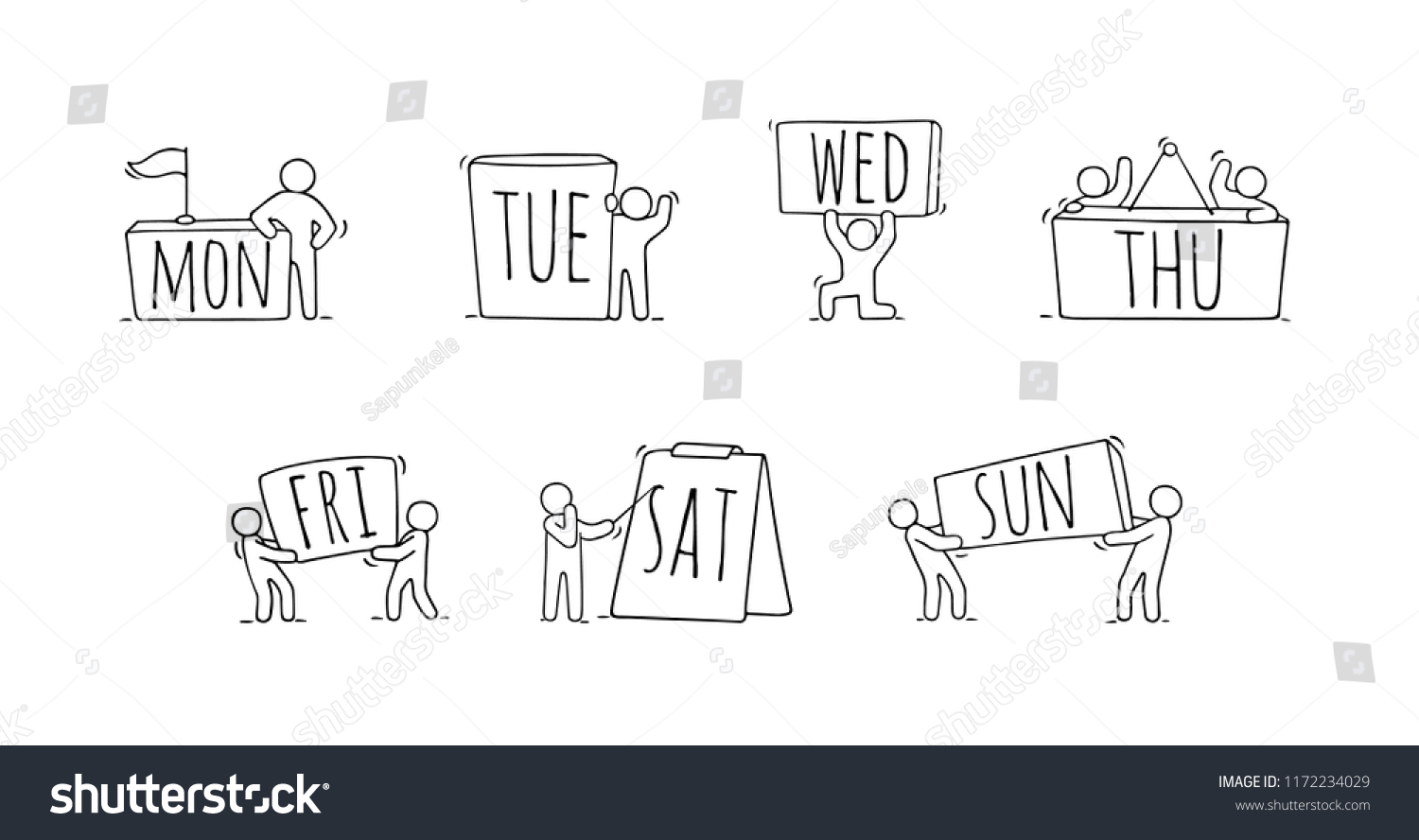 Little People Tags 7 Days Week Stock Vector (Royalty Free with regard to 7 Days A Week Planner