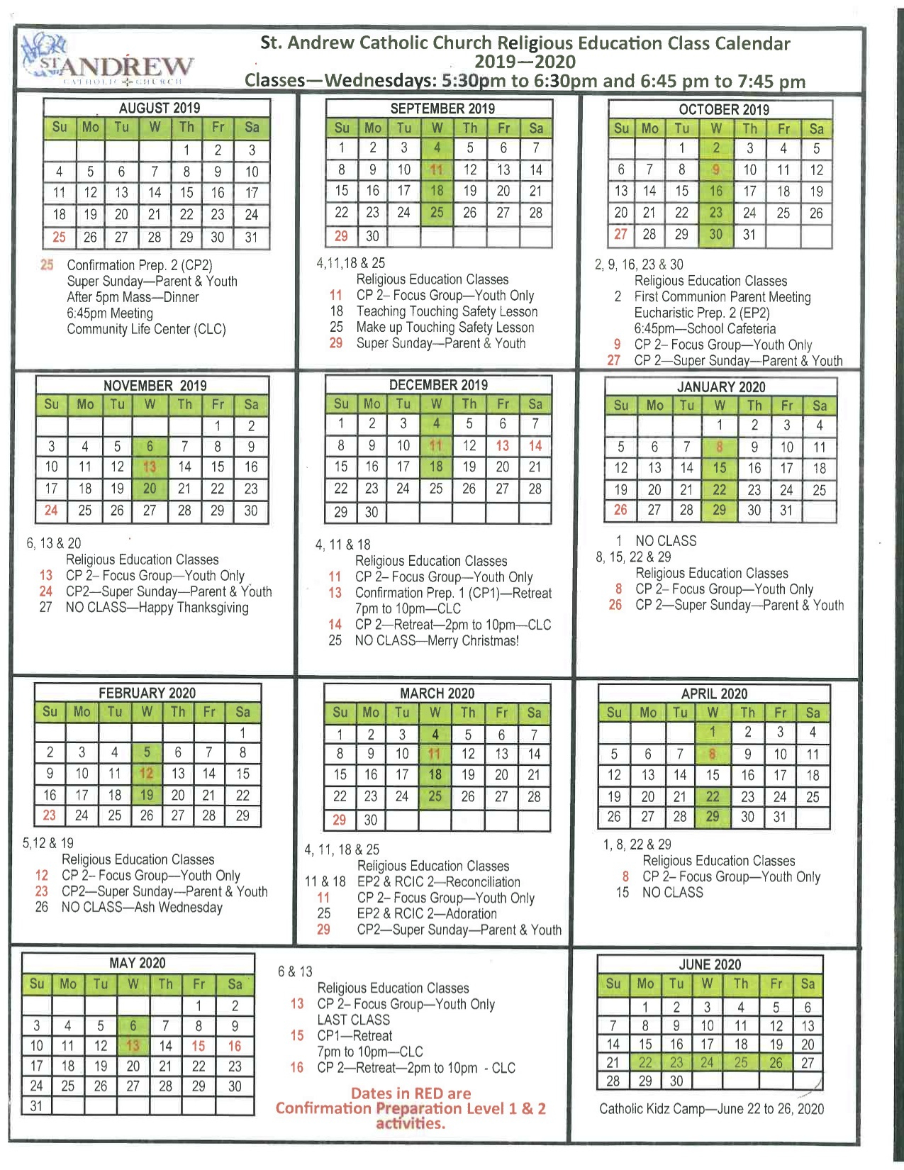 Liturgical Calendar  St. Andrew Catholic School with regard to Catholic Liturgy Calendar 2020