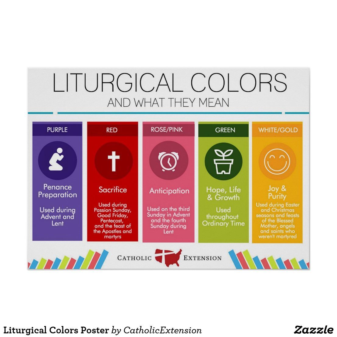 Liturgical Colors Poster | Zazzle | Poster Colour in Catholic Extension Calendar