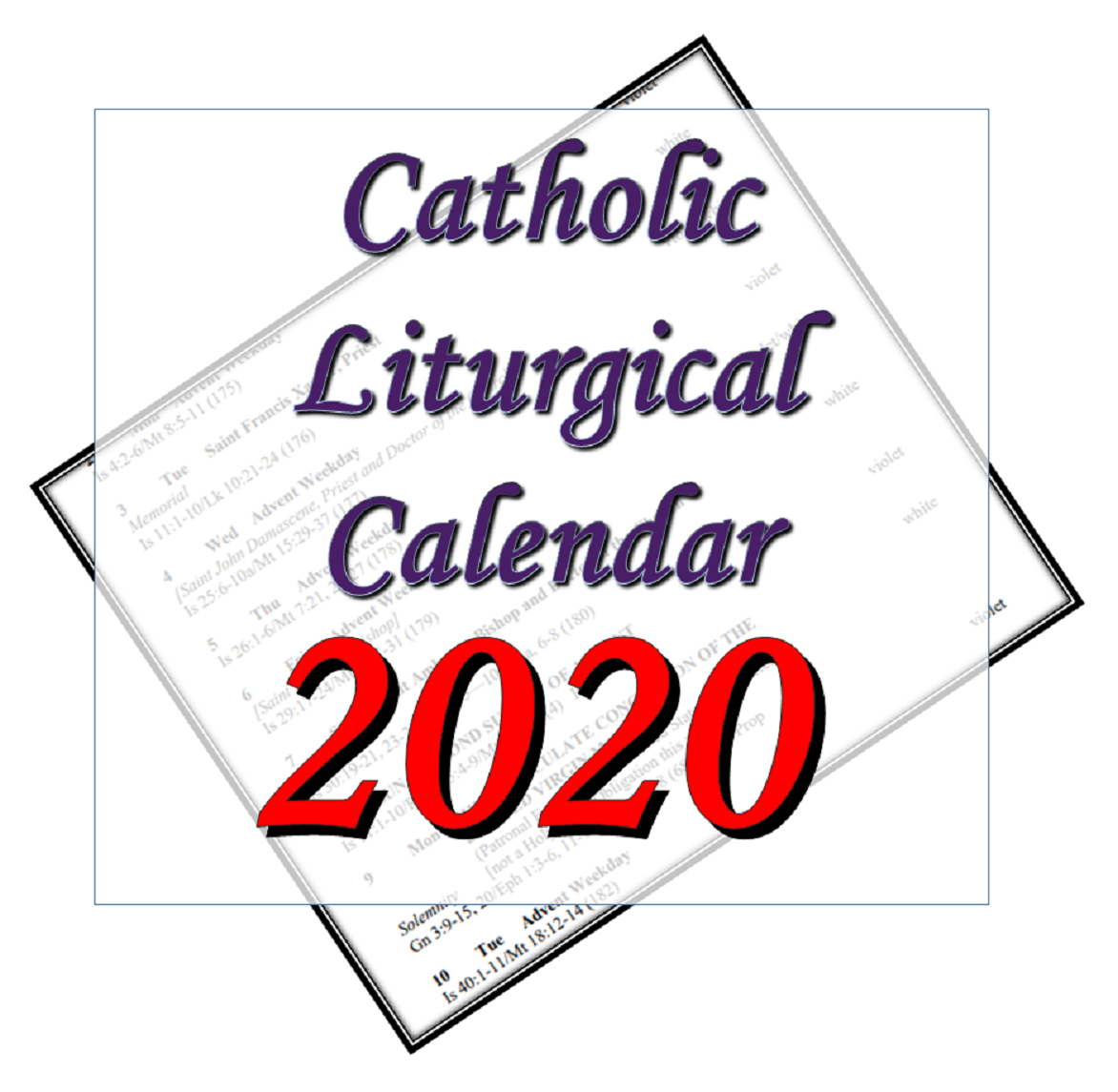 Liturgytools: Catholic Liturgical Calendars For 2020 with Catholic Liturgy Calendar 2020