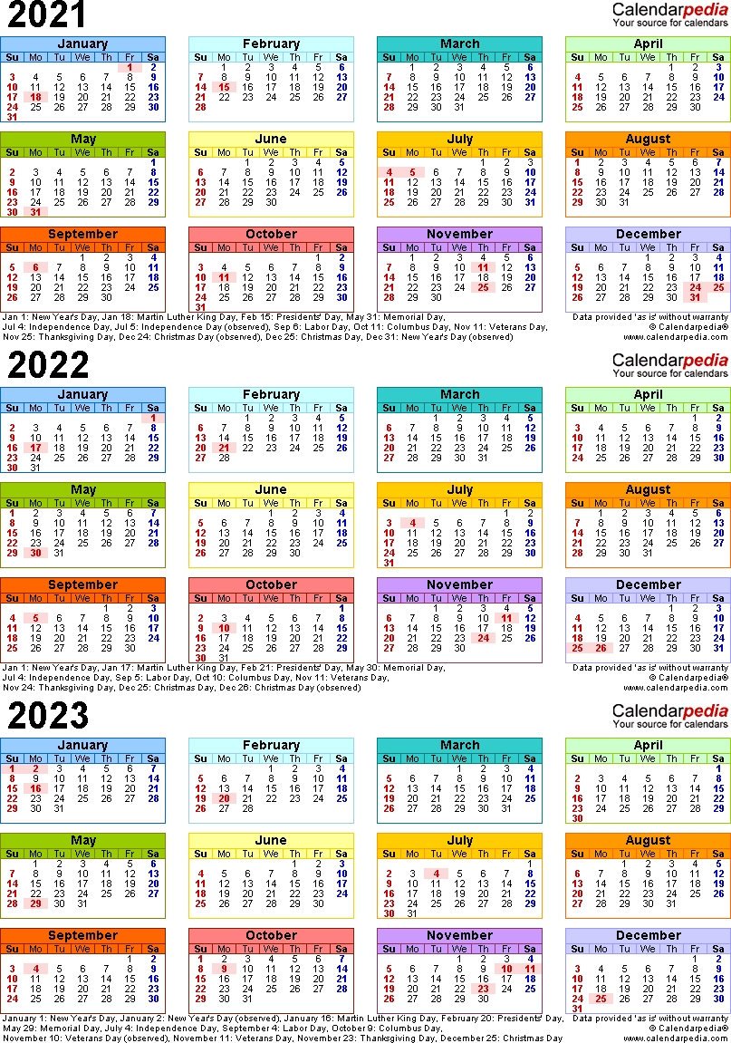 Lovely 3 Year Calendar 2022 To 2024 : Mini Calendar Template for Three Year Calendar Printable